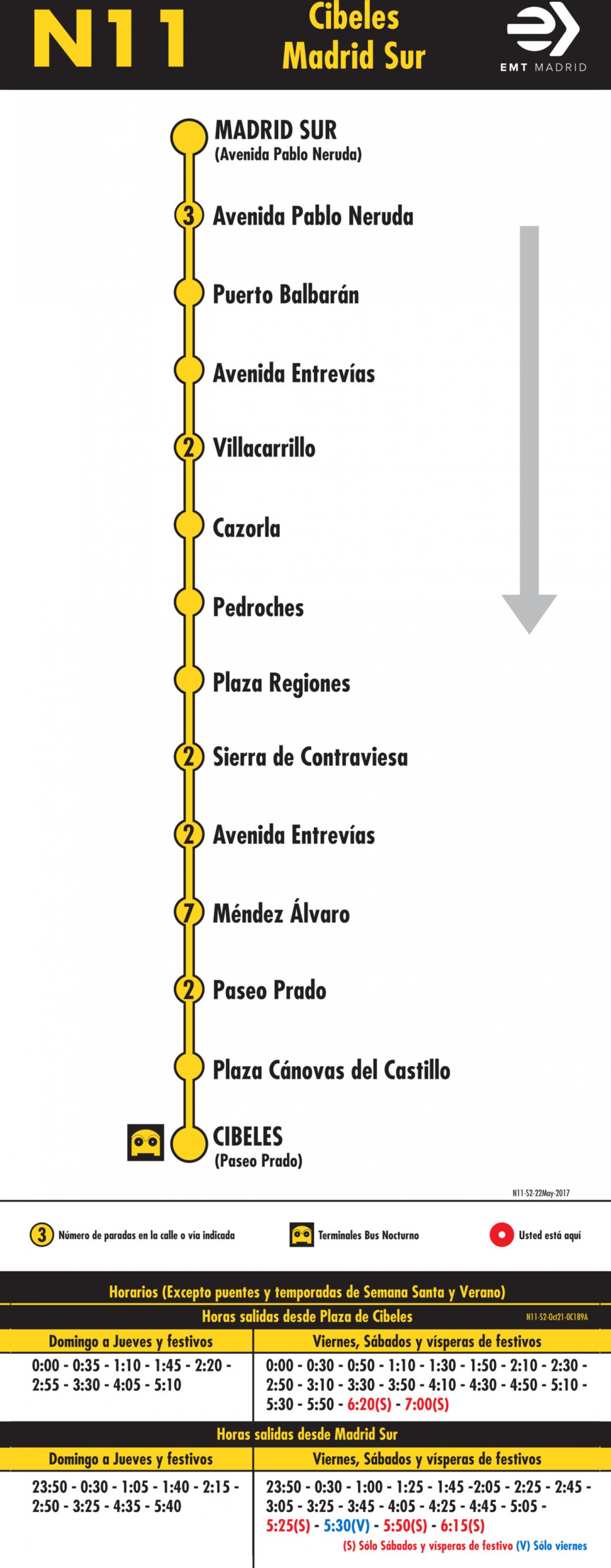 Tabla de horarios y frecuencias de paso en sentido vuelta Línea N11: Plaza de Cibeles - Madrid Sur (búho)