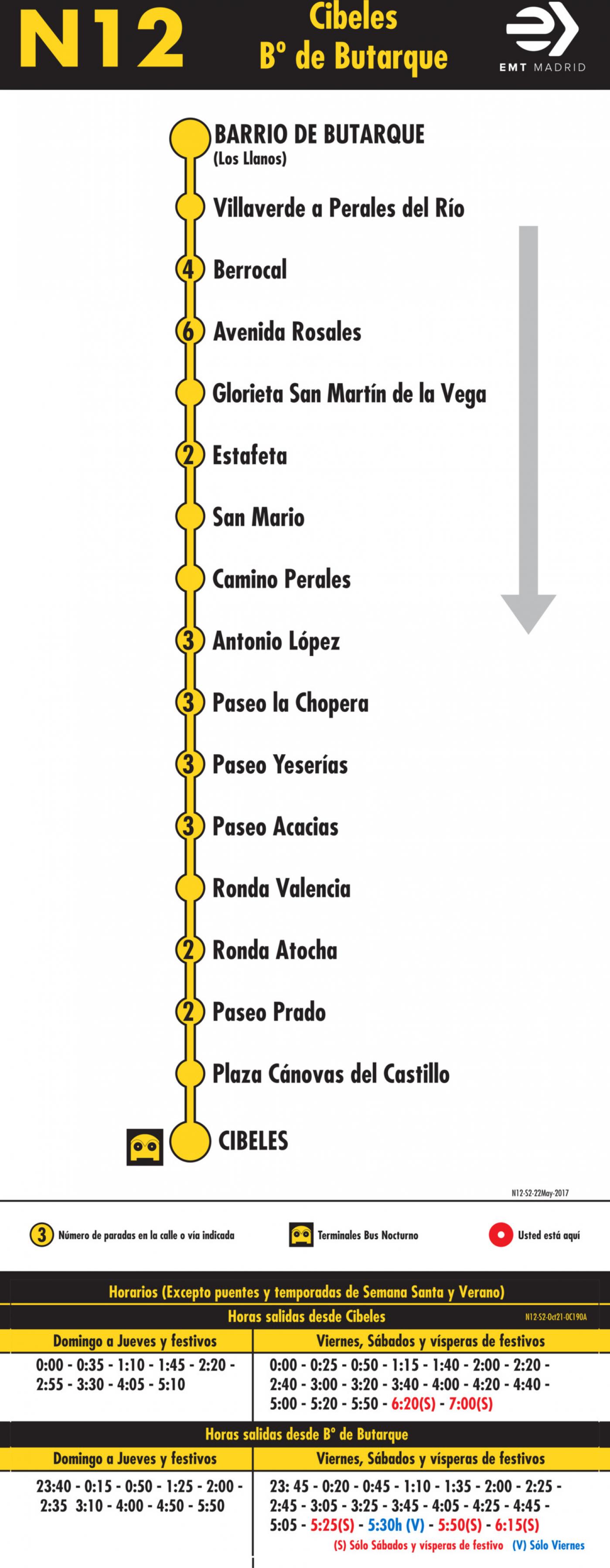Tabla de horarios y frecuencias de paso en sentido vuelta Línea N12: Plaza de Cibeles - Los Rosales (búho)