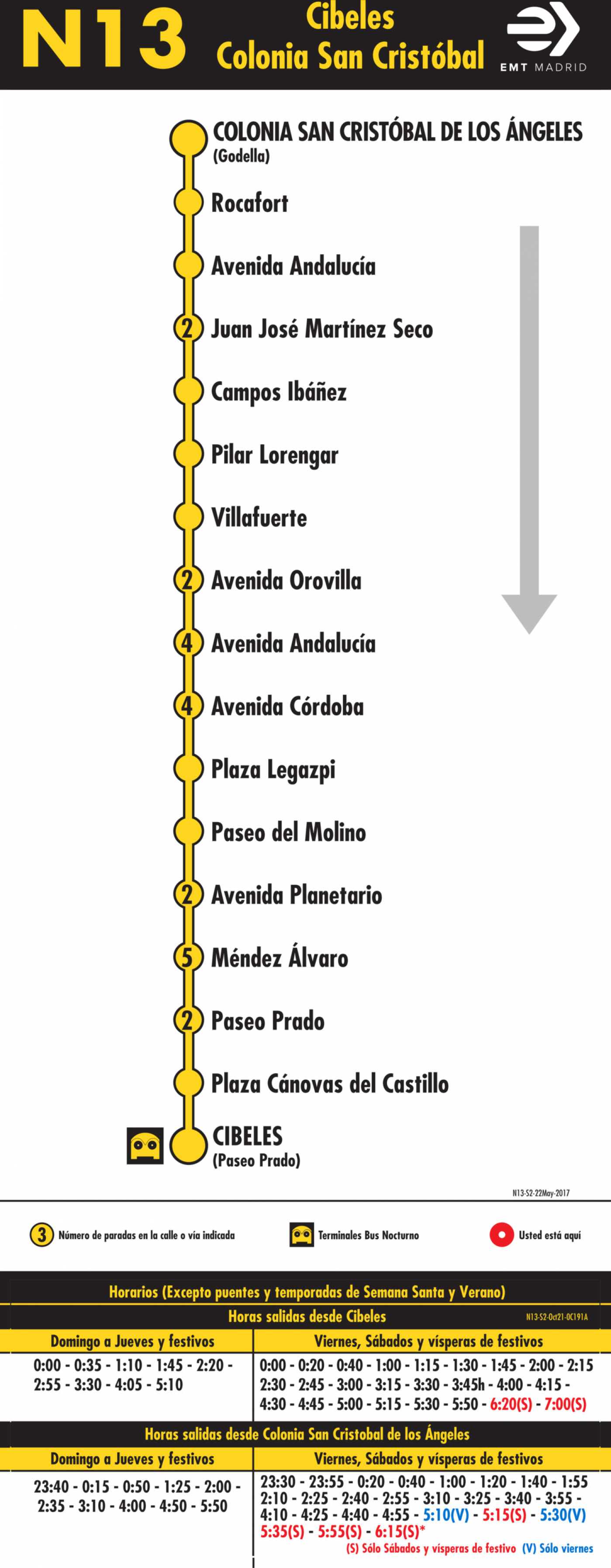 Tabla de horarios y frecuencias de paso en sentido vuelta Línea N13: Plaza de Cibeles - Colonia San Cristóbal de los Ángeles (búho)