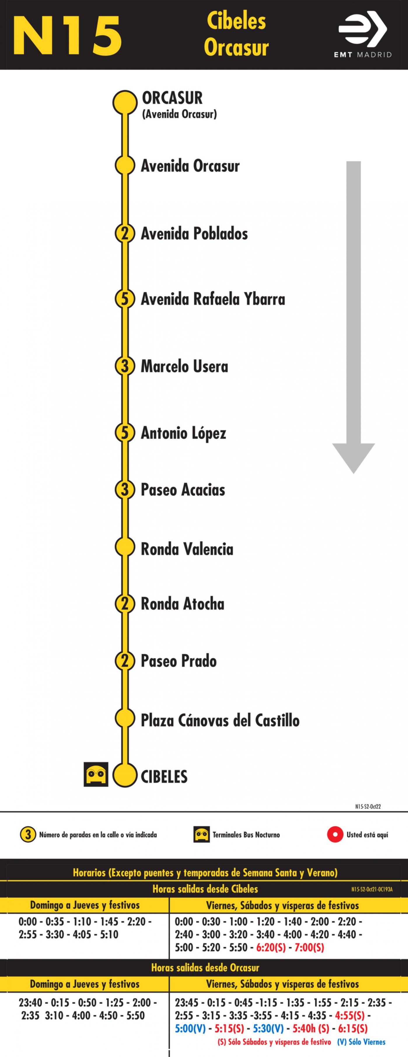 Tabla de horarios y frecuencias de paso en sentido vuelta Línea N15: Plaza de Cibeles - Orcasur (búho)