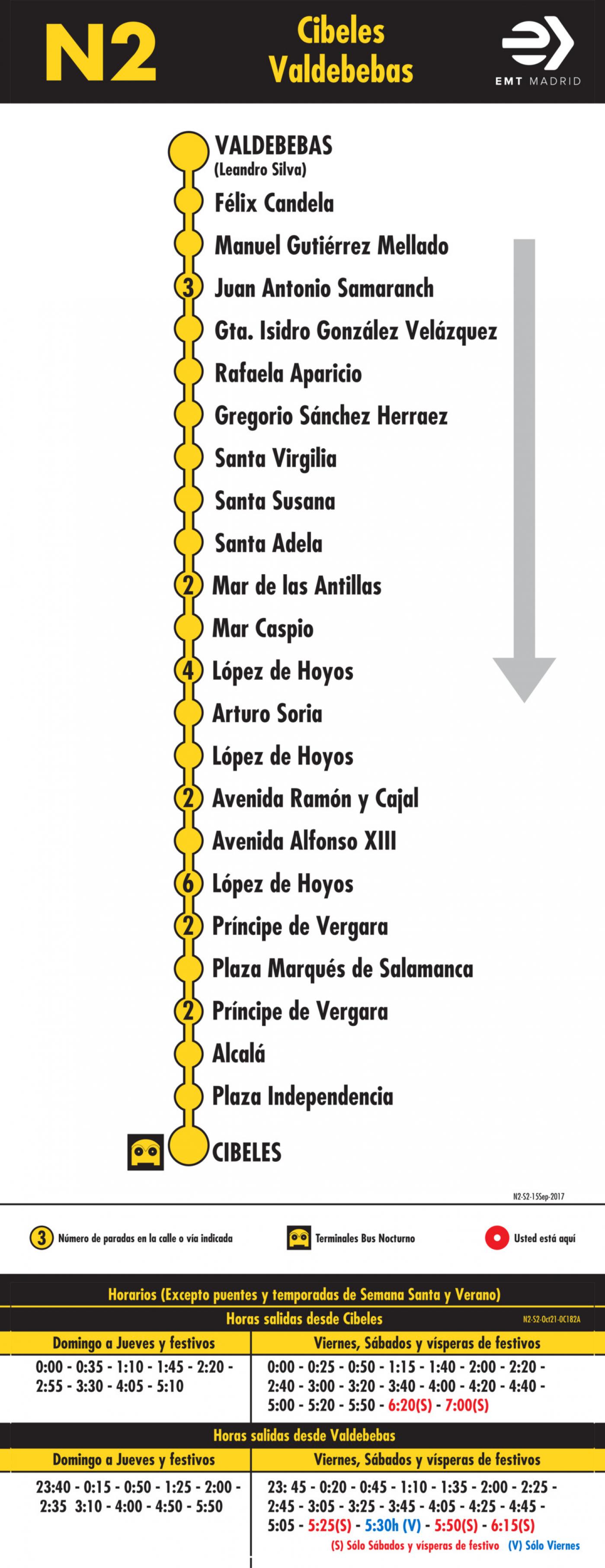Tabla de horarios y frecuencias de paso en sentido vuelta Línea N2: Plaza de Cibeles - Hortaleza (búho)