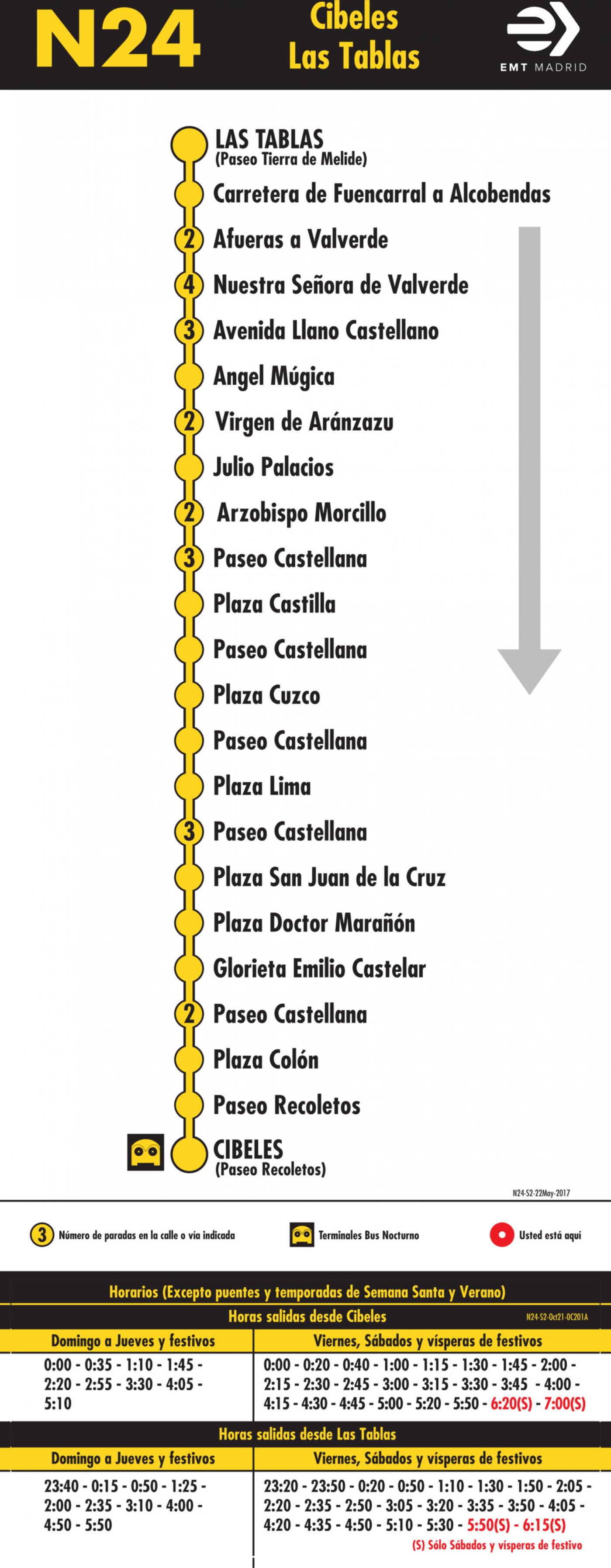 Tabla de horarios y frecuencias de paso en sentido vuelta Línea N24: Plaza de Cibeles - Las Tablas (búho)