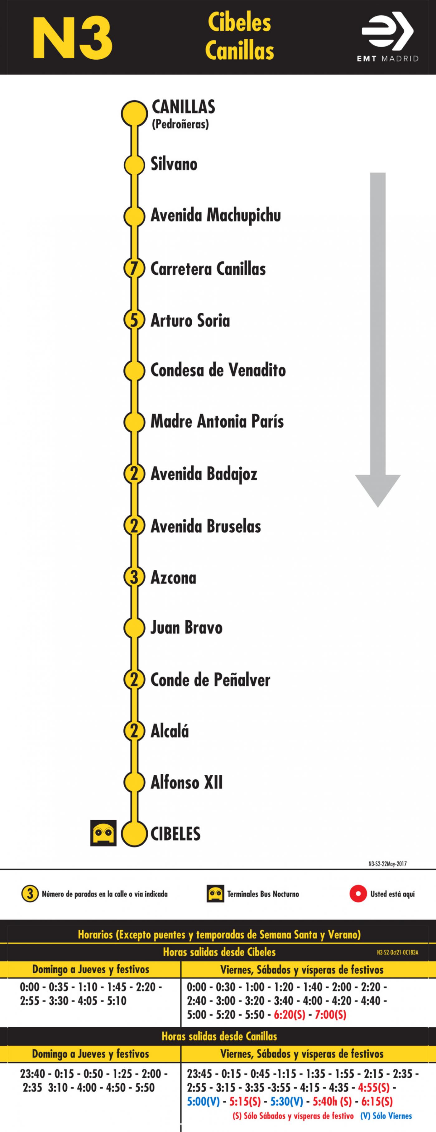 Tabla de horarios y frecuencias de paso en sentido vuelta Línea N3: Plaza de Cibeles - Canillas (búho)