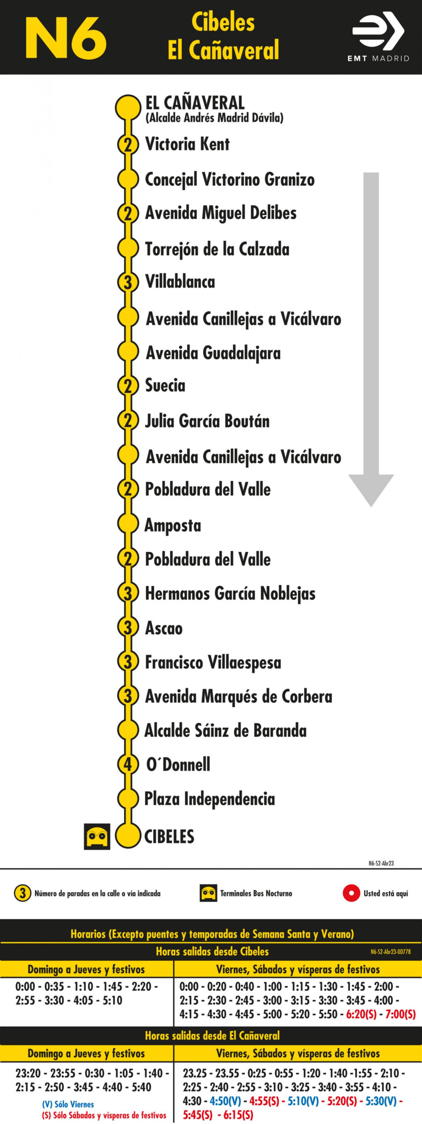 Tabla de horarios y frecuencias de paso en sentido vuelta Línea N6: Plaza de Cibeles - Las Rosas (búho)