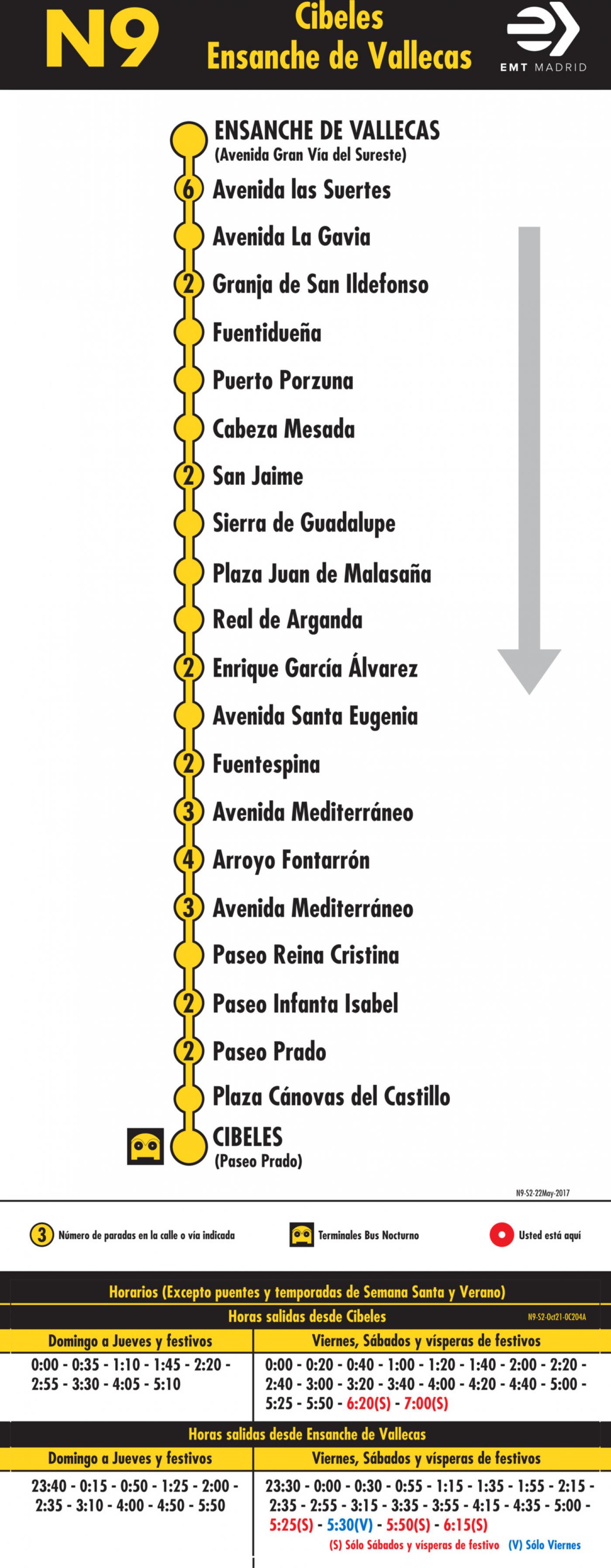 Tabla de horarios y frecuencias de paso en sentido vuelta Línea N9: Plaza de Cibeles - Ensanche de Vallecas (búho)