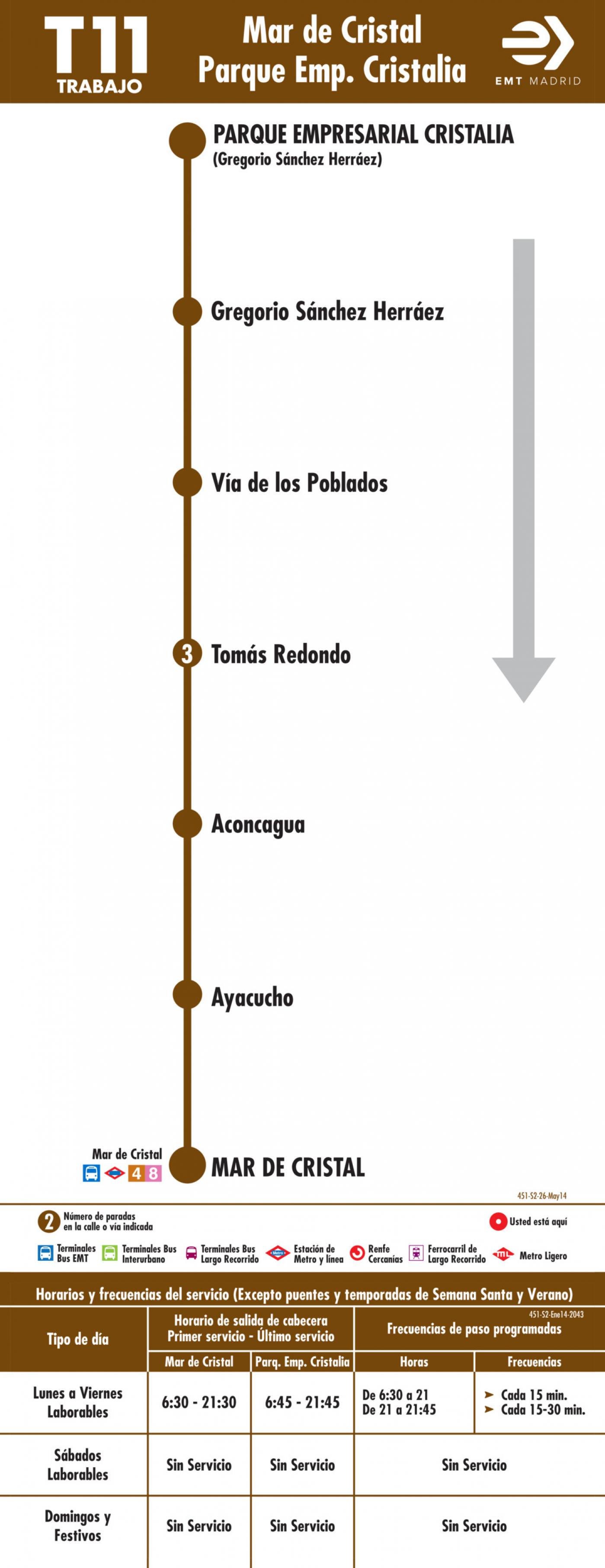 Tabla de horarios y frecuencias de paso en sentido vuelta Línea T11: Mar de Cristal - Parque Empresarial Cristalia