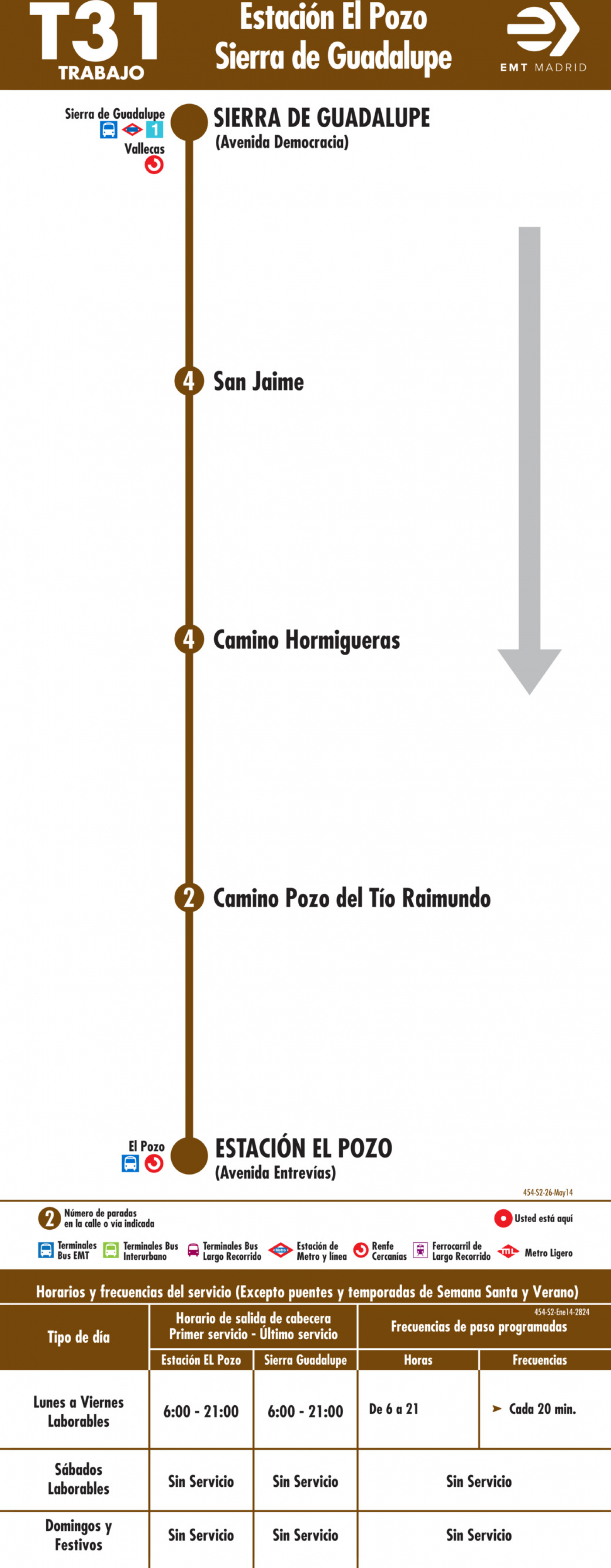 Tabla de horarios y frecuencias de paso en sentido vuelta Línea T31: Estación El Pozo - Sierra de Guadalupe