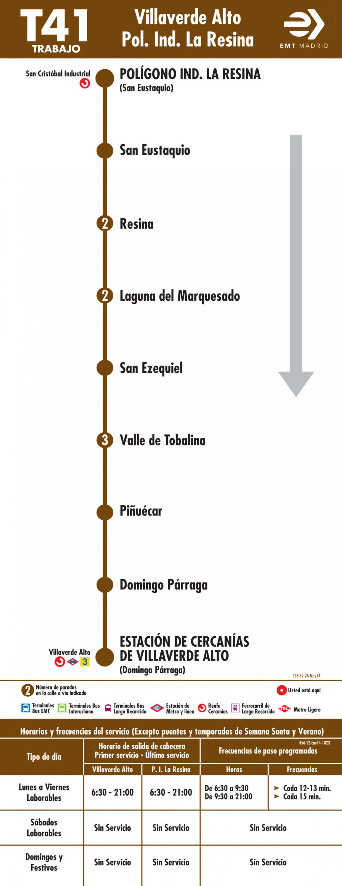 Tabla de horarios y frecuencias de paso en sentido vuelta Línea T41: Estación Cercanías RENFE Villaverde Alto - Polígono Industrial la Resina