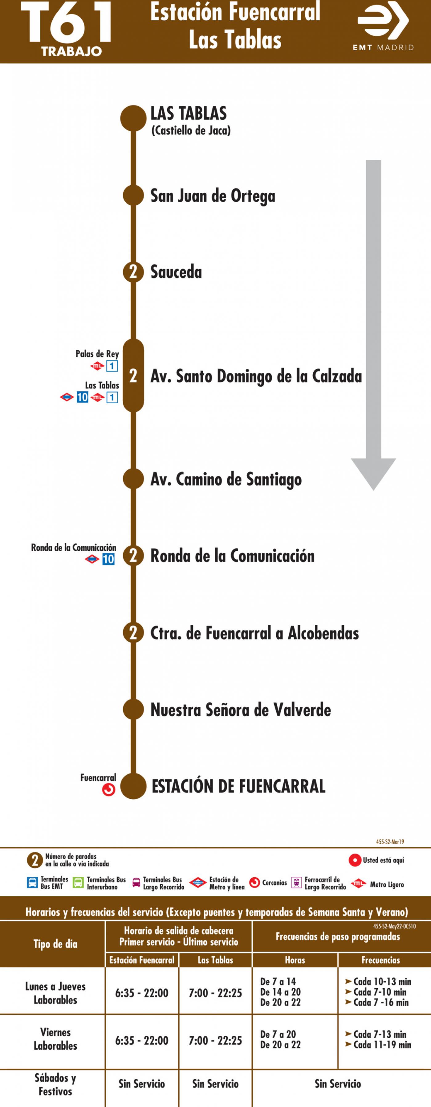 Tabla de horarios y frecuencias de paso en sentido vuelta Línea T61: Estación Cercanías RENFE Fuencarral - Telefónica