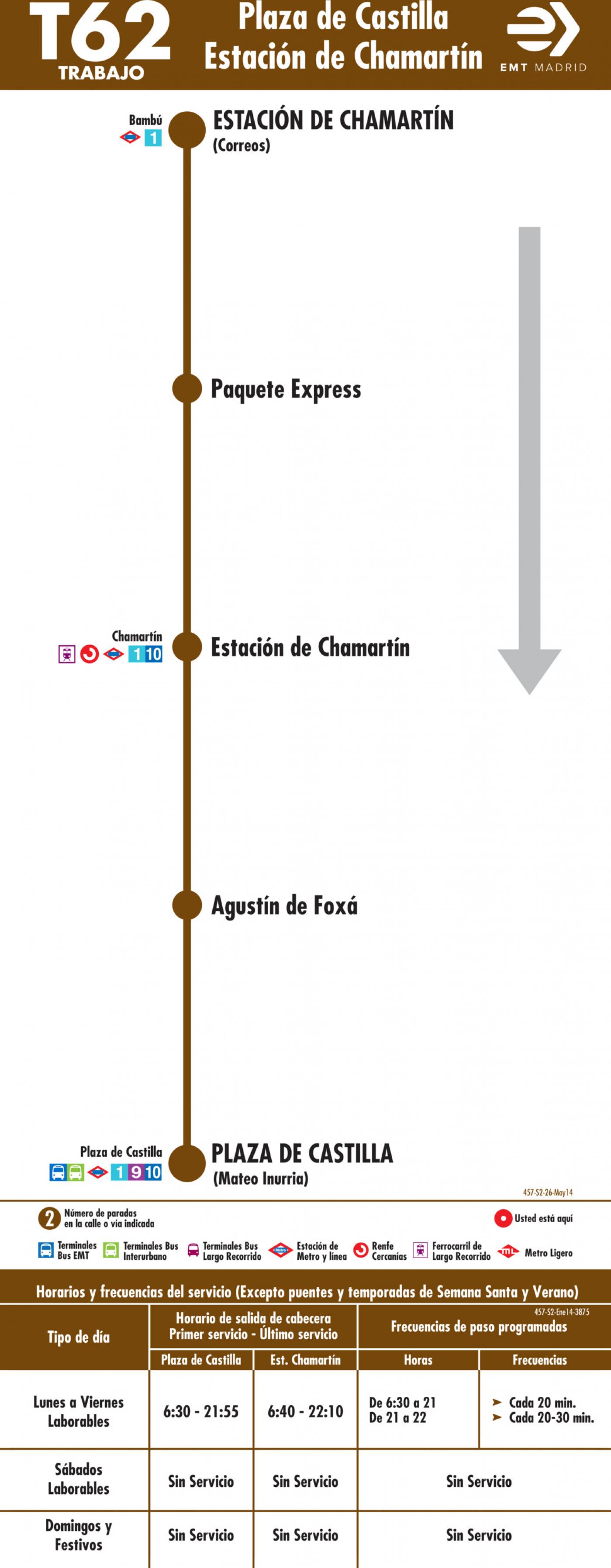Tabla de horarios y frecuencias de paso en sentido vuelta Línea T62: Plaza de Castilla - Estación de Chamartín