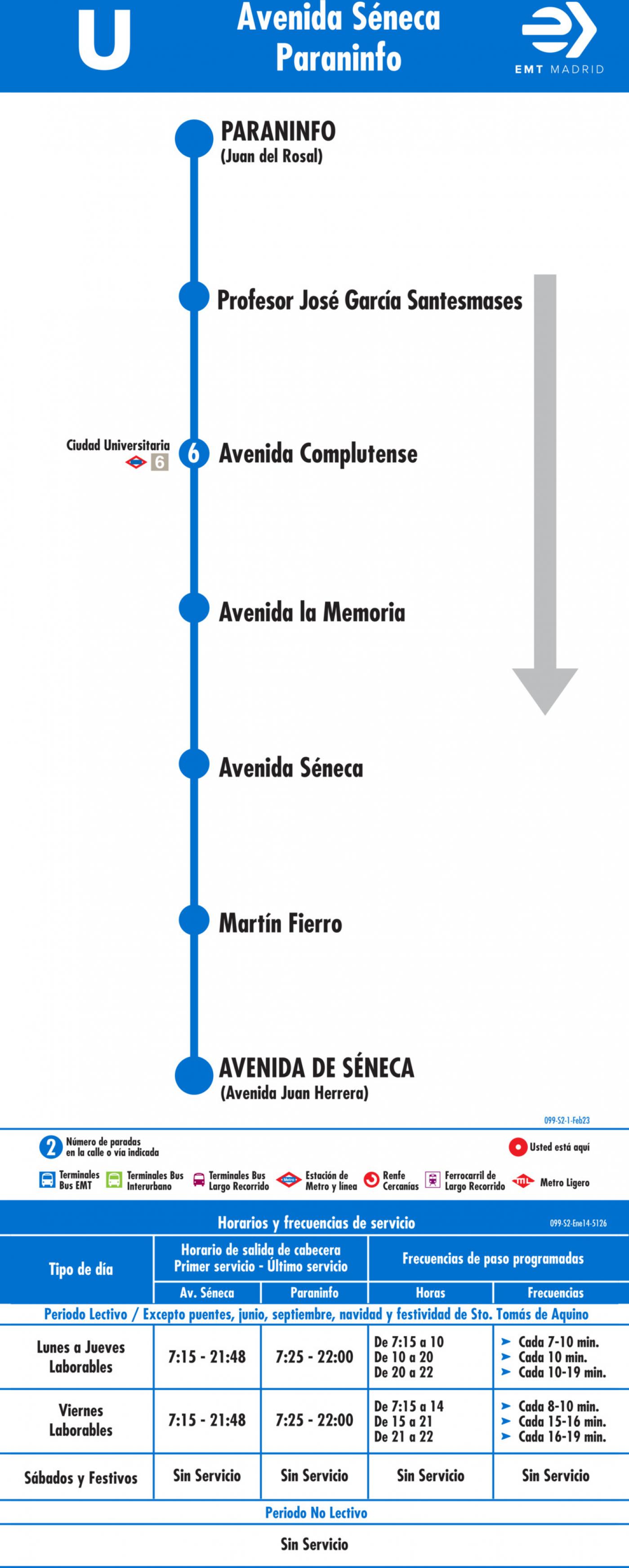 Tabla de horarios y frecuencias de paso en sentido vuelta Línea U: Avenida de Séneca - Paraninfo Universidad