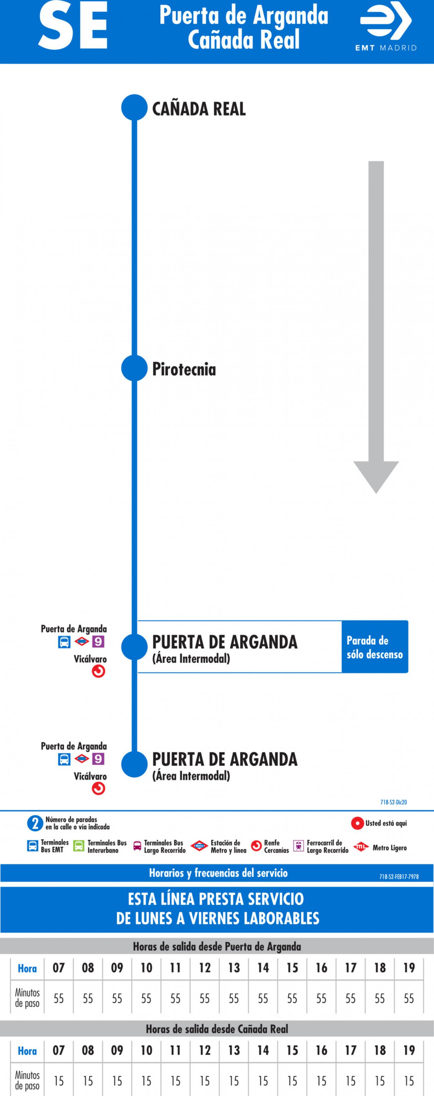 Tabla de horarios y frecuencias de paso en sentido vuelta Línea SE 718: Puerta de Arganda - Cañada Real