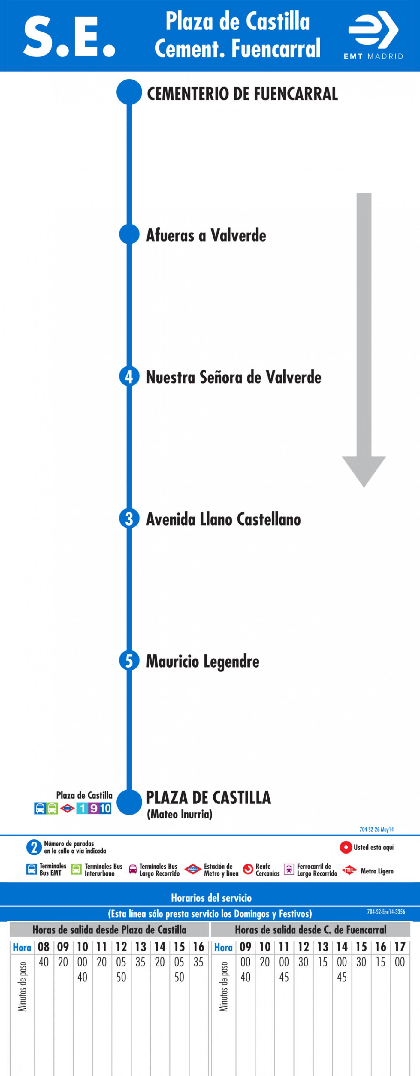 Tabla de horarios y frecuencias de paso en sentido vuelta Línea SE 704: Plaza de Castilla - Cementerio de Fuencarral