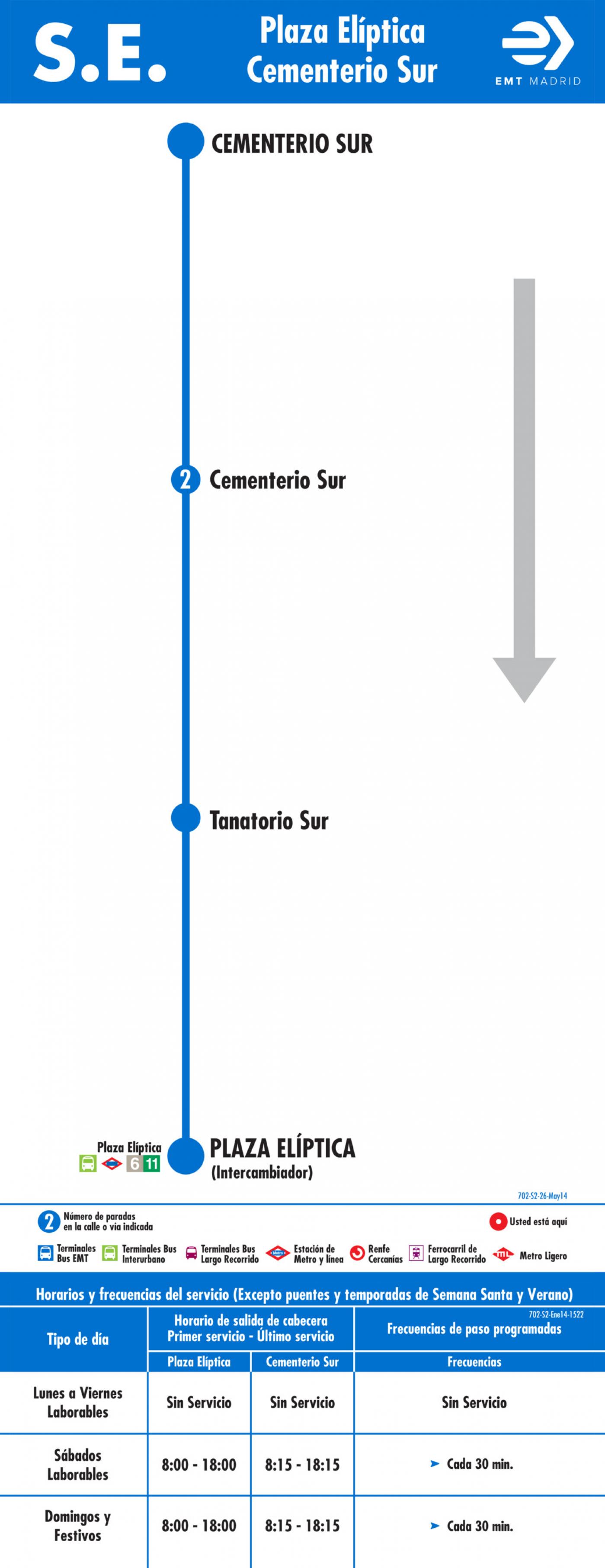 Tabla de horarios y frecuencias de paso en sentido vuelta Línea SE 702: Plaza Elíptica - Cementerio Sur