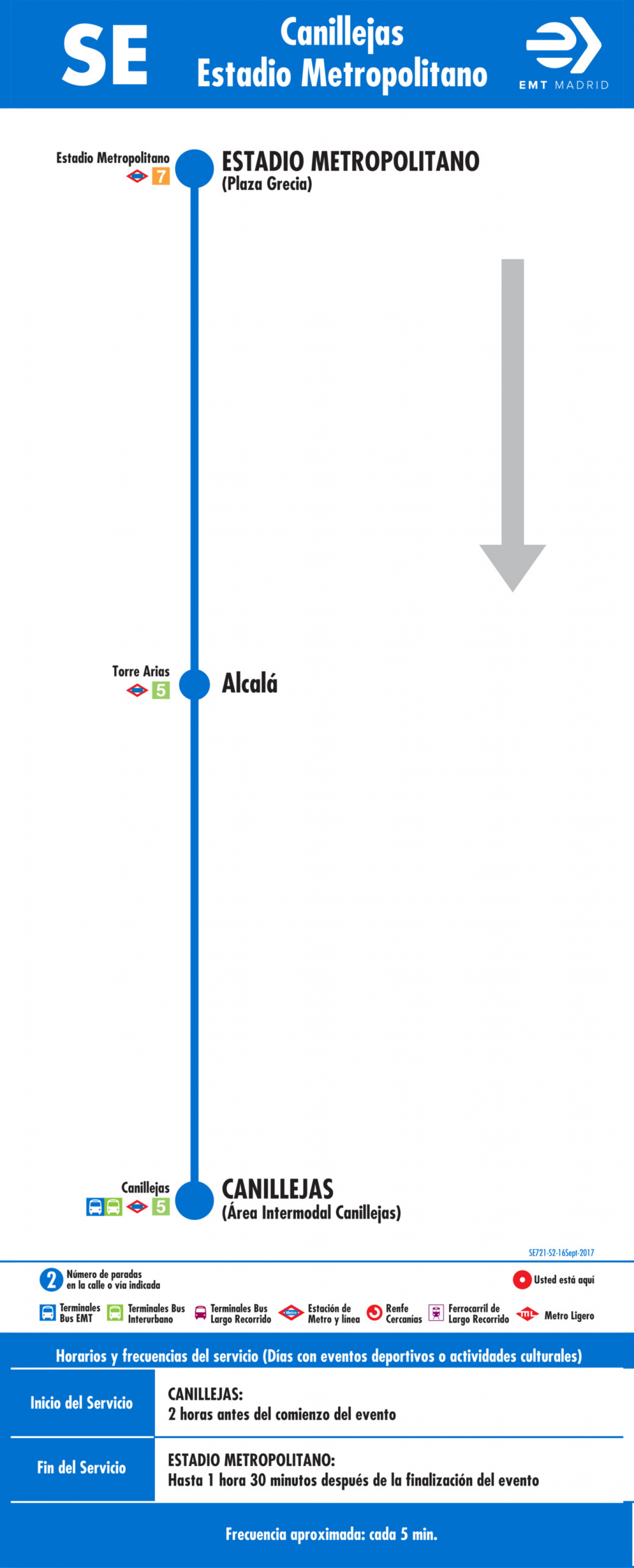 Tabla de horarios y frecuencias de paso en sentido vuelta Línea SE 721: Canillejas - Estadio Metropolitano