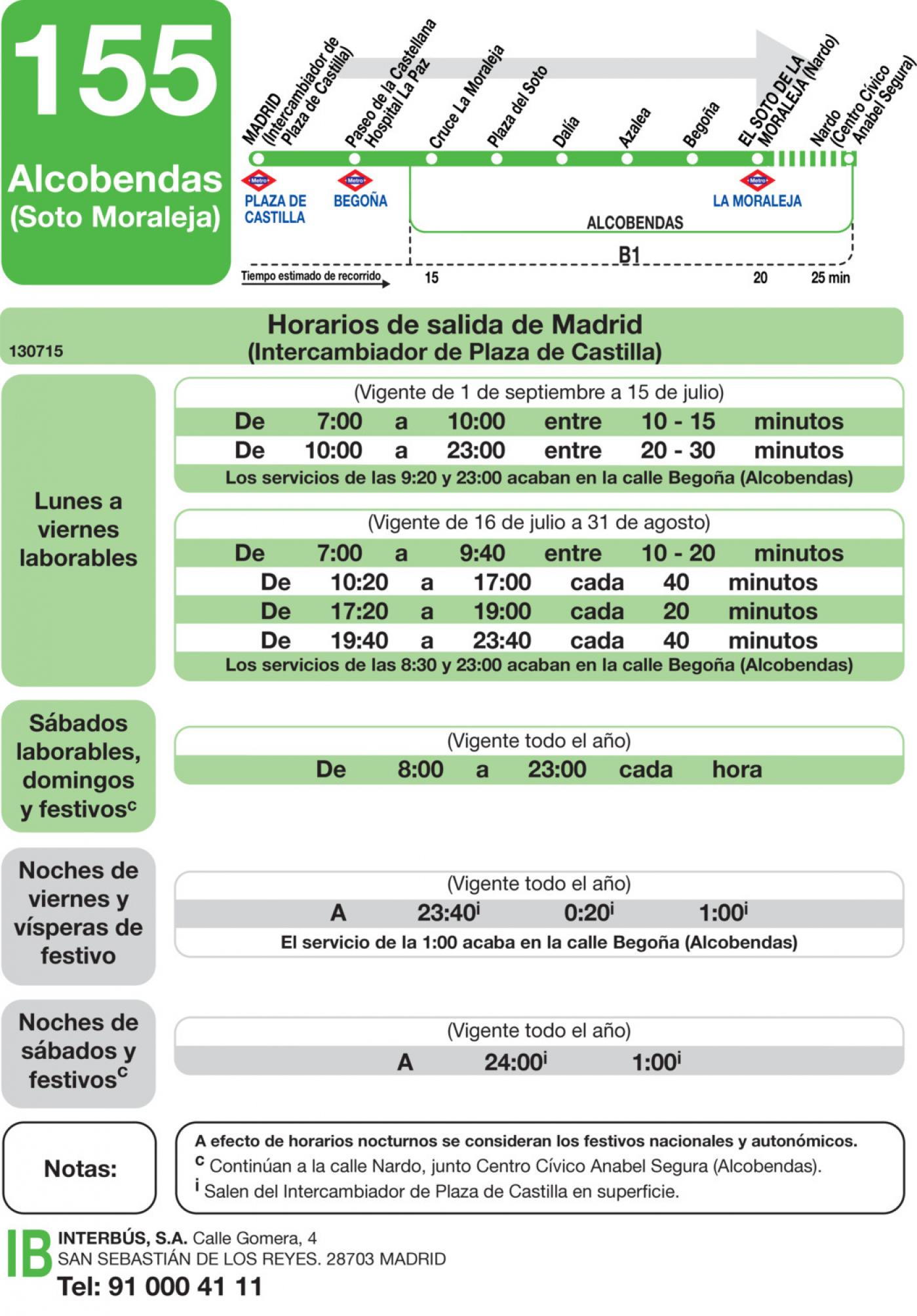 Tabla de horarios y frecuencias de paso en sentido ida Línea 155: Madrid (Plaza Castilla) - El Soto de la Moraleja