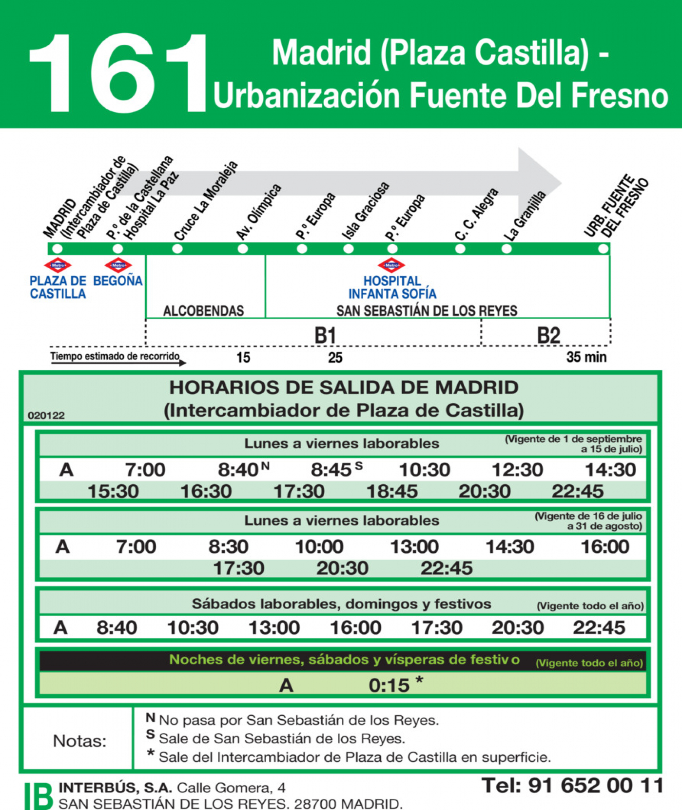 Tabla de horarios y frecuencias de paso en sentido ida Línea 161: Madrid (Plaza Castilla) - Urbanización Fuente del Fresno