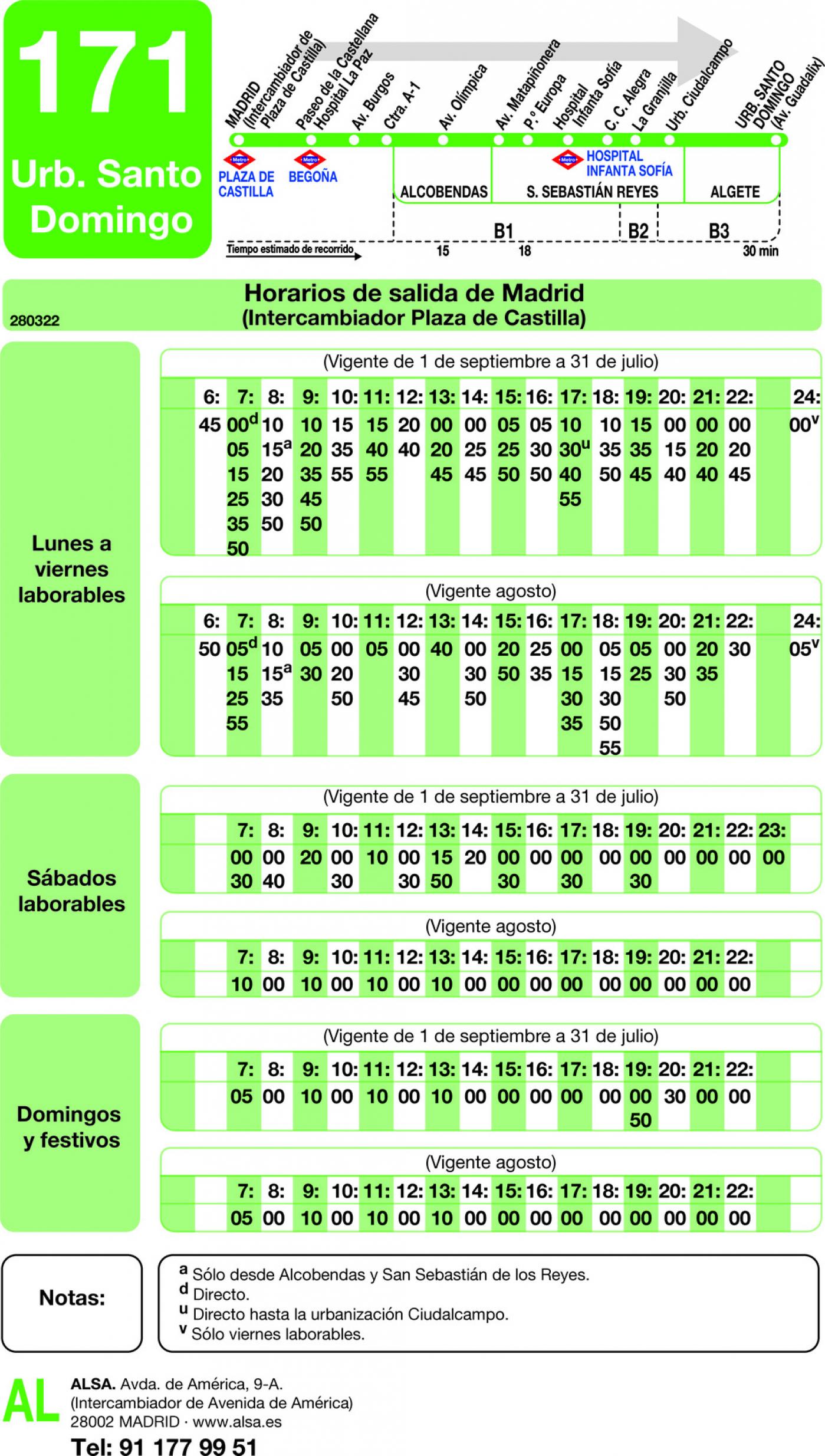 Tabla de horarios y frecuencias de paso en sentido ida Línea 171: Madrid (Plaza Castilla) - Urbanización Santo Domingo