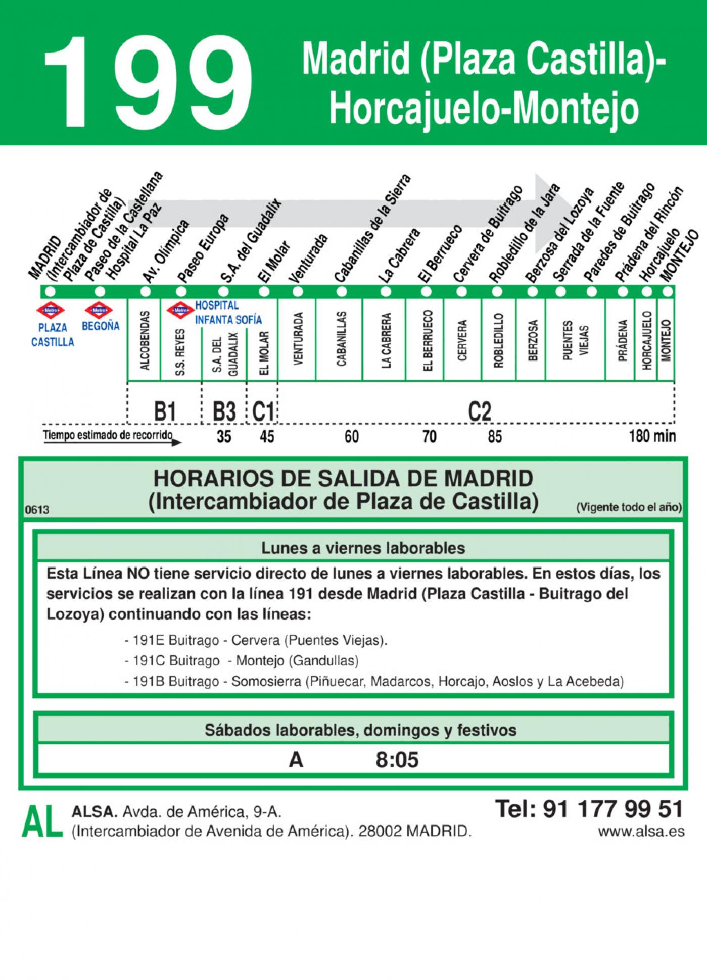 Tabla de horarios y frecuencias de paso en sentido ida Línea 199: Madrid (Plaza Castilla) - Horcajuelo - Montejo