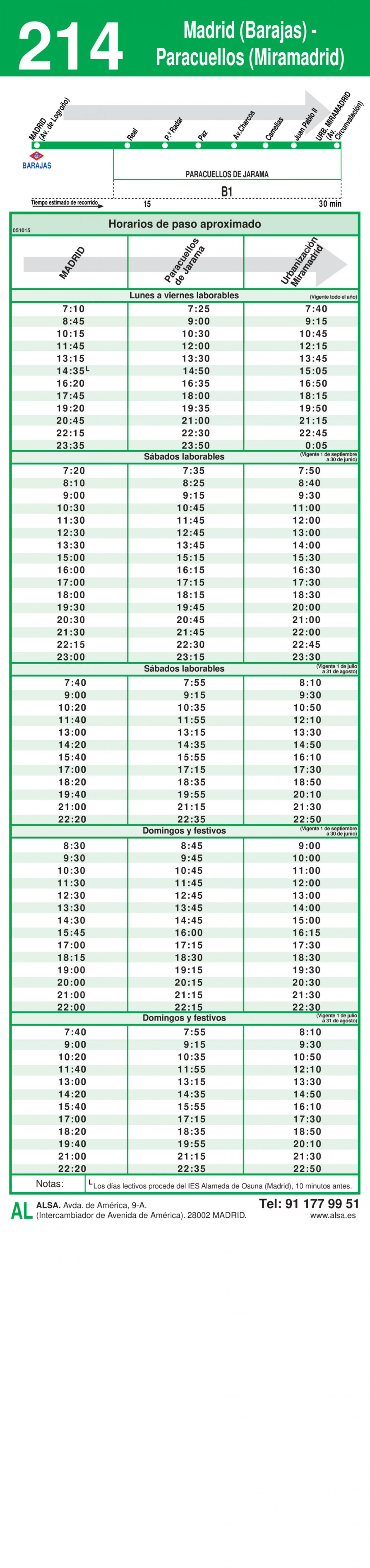 Tabla de horarios y frecuencias de paso en sentido ida Línea 214: Madrid (Barajas) - Paracuellos de Jarama (Miramadrid)