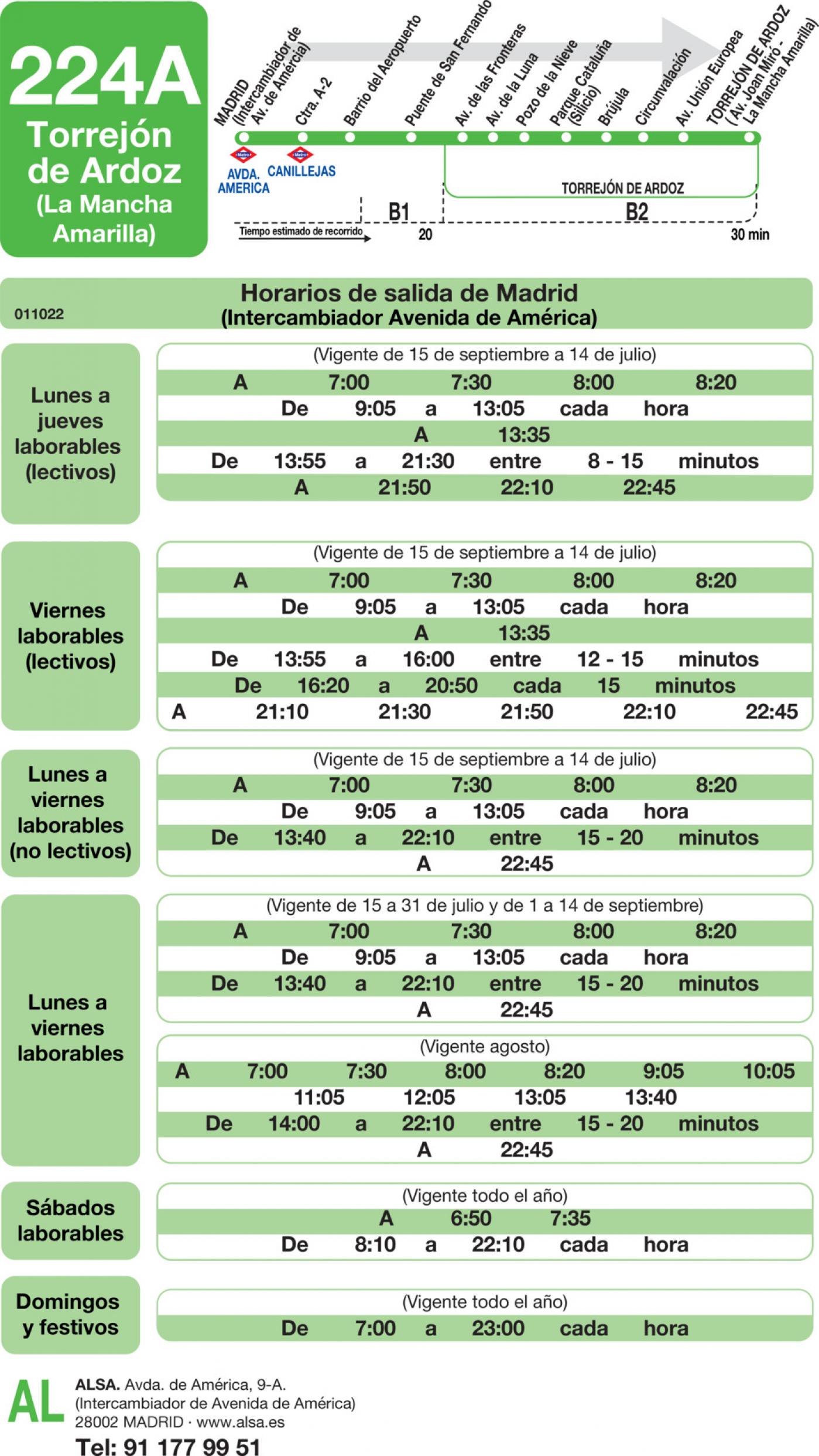 Tabla de horarios y frecuencias de paso en sentido ida Línea 224-A: Madrid (Avenida América) - Torrejón de Ardoz (La Mancha Amarilla)