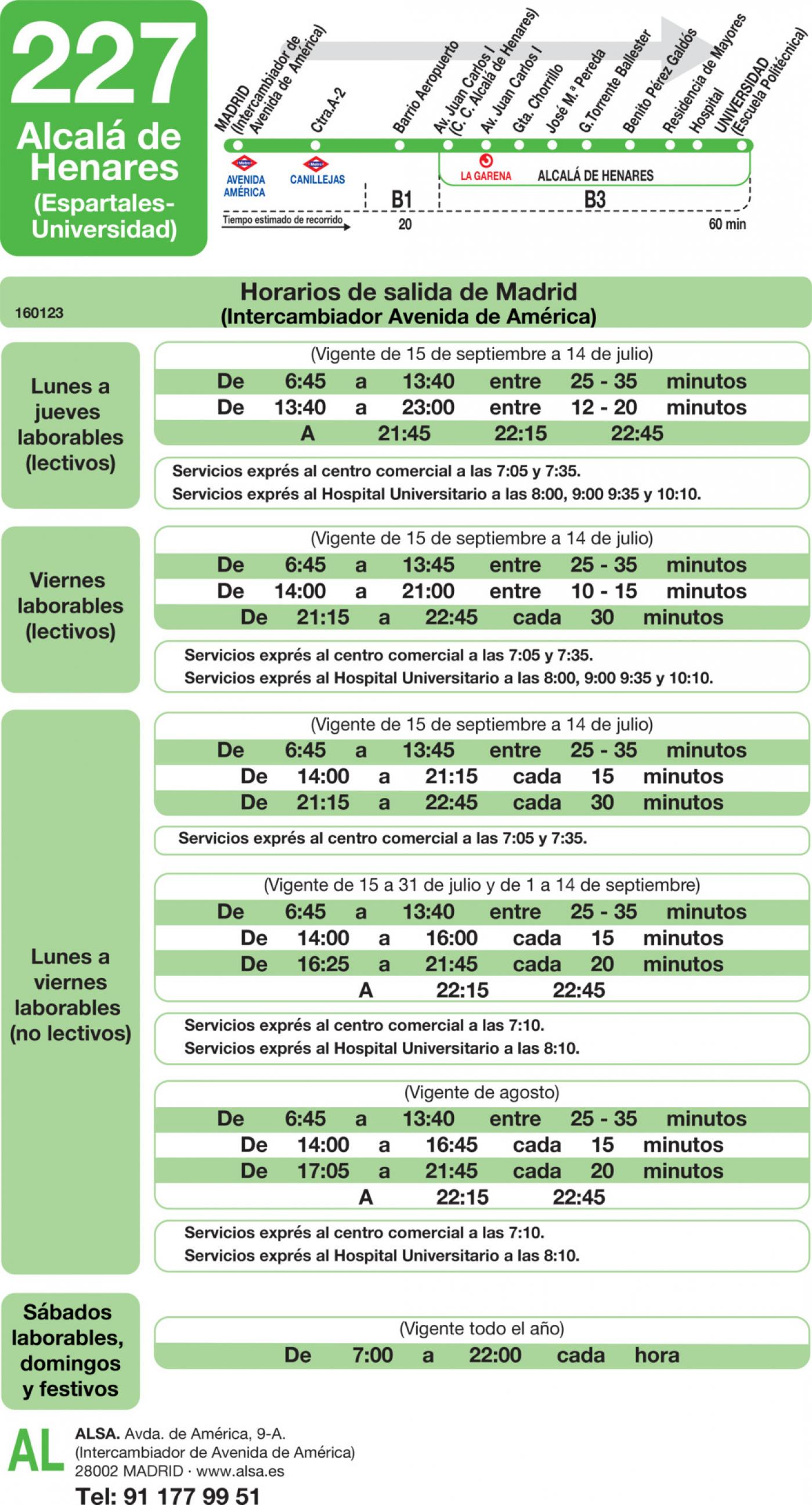 Tabla de horarios y frecuencias de paso en sentido ida Línea 227: Madrid (Avenida América) - Alcalá de Henares (Espartales - Universidad)