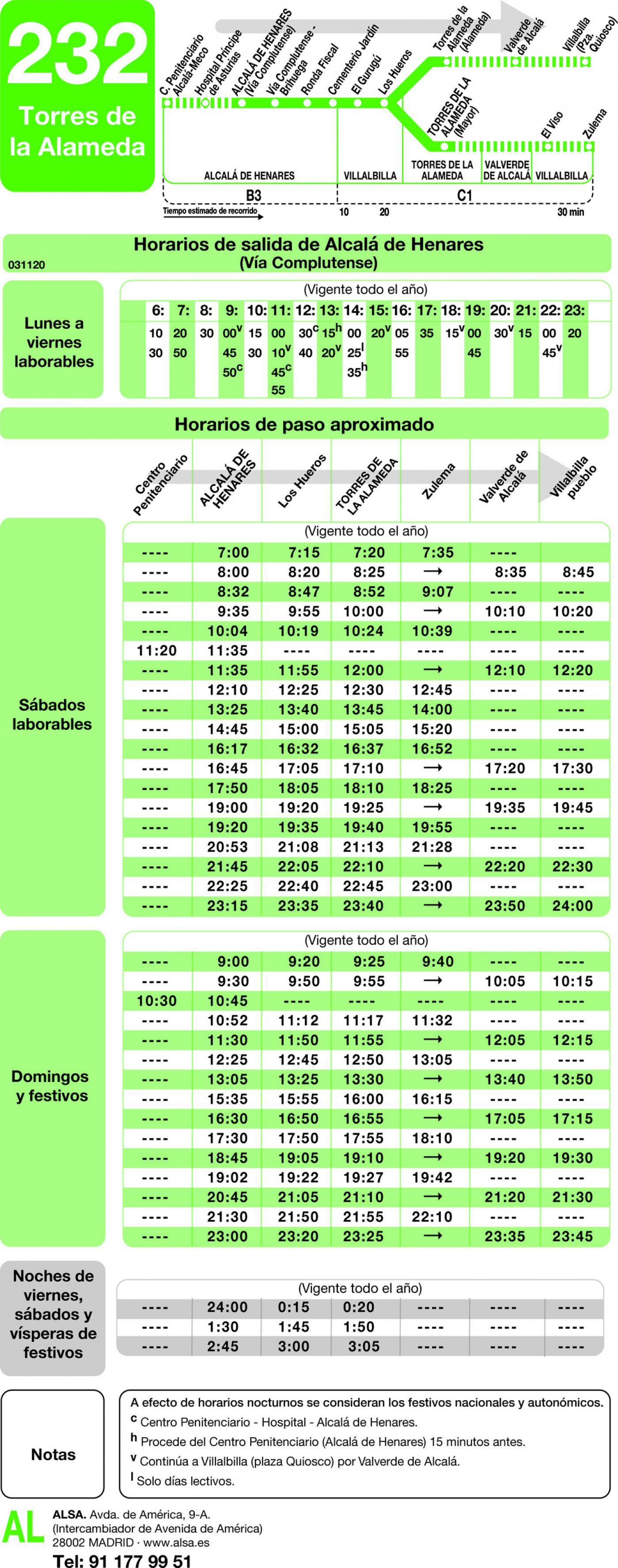 Tabla de horarios y frecuencias de paso en sentido ida Línea 232: Alcalá de Henares - Torres de la Alameda