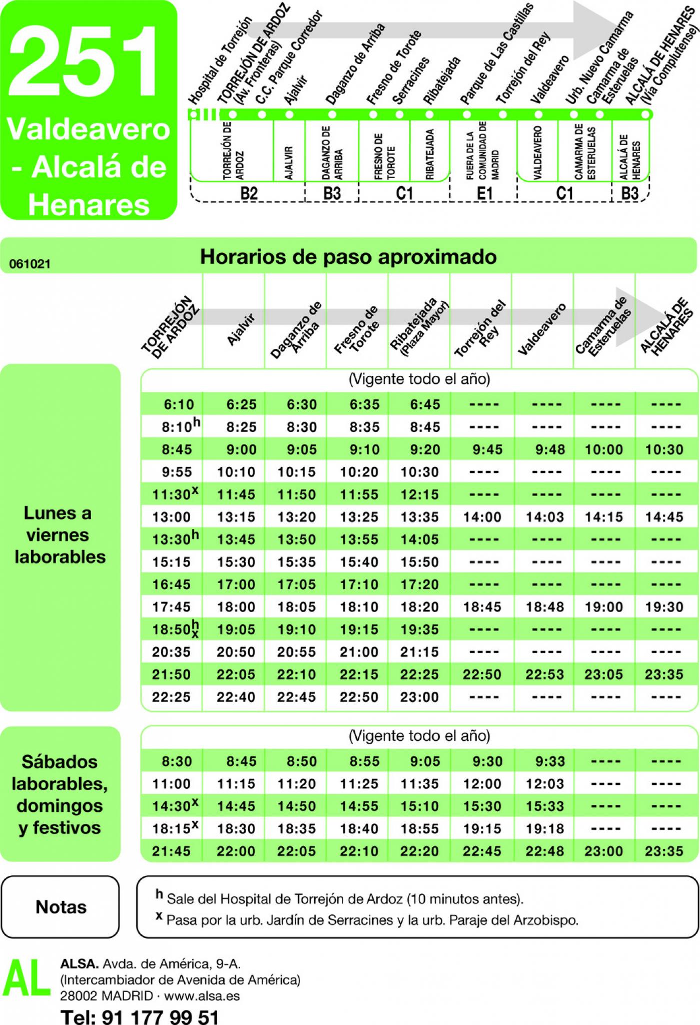 Tabla de horarios y frecuencias de paso en sentido ida Línea 251: Torrejón de Ardoz - Valdeavero - Alcalá de Henares