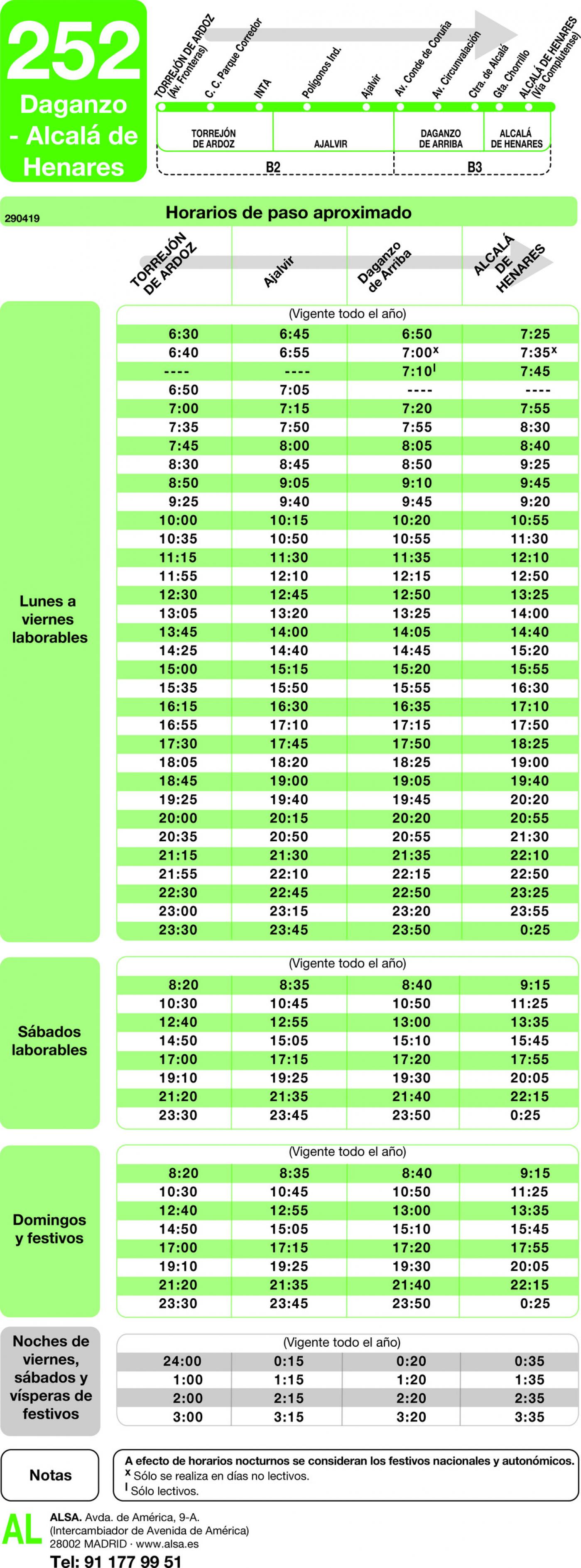 Tabla de horarios y frecuencias de paso en sentido ida Línea 252: Torrejón de Ardoz - Daganzo - Alcalá de Henares
