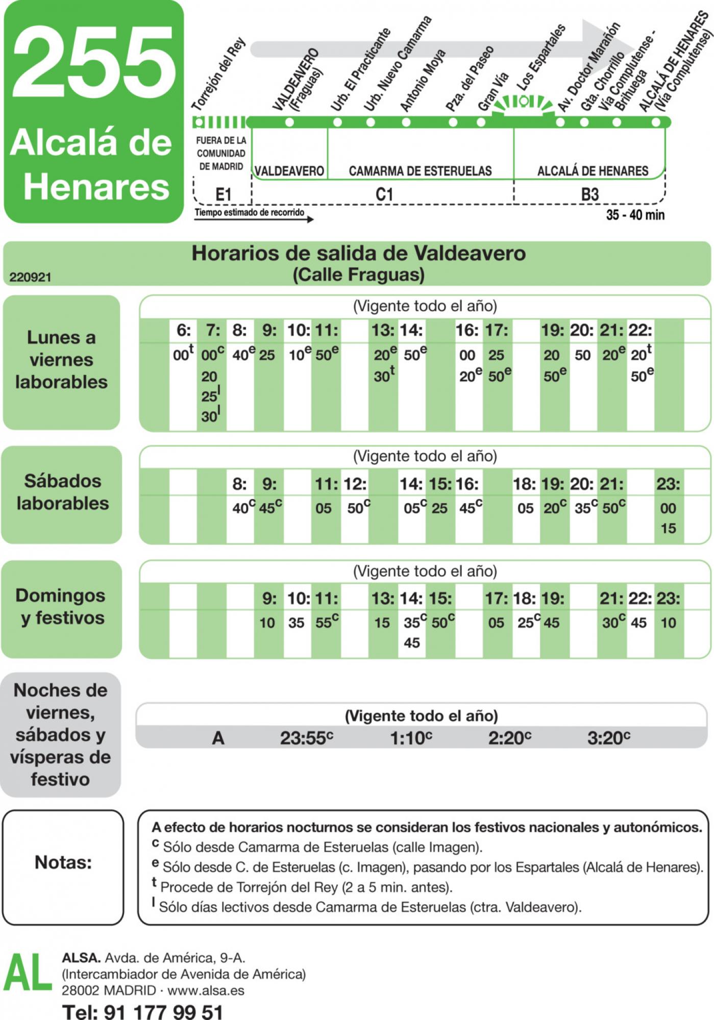 Tabla de horarios y frecuencias de paso en sentido ida Línea 255: Valdeavero - Camarma de Esteruelas - Alcalá de Henares