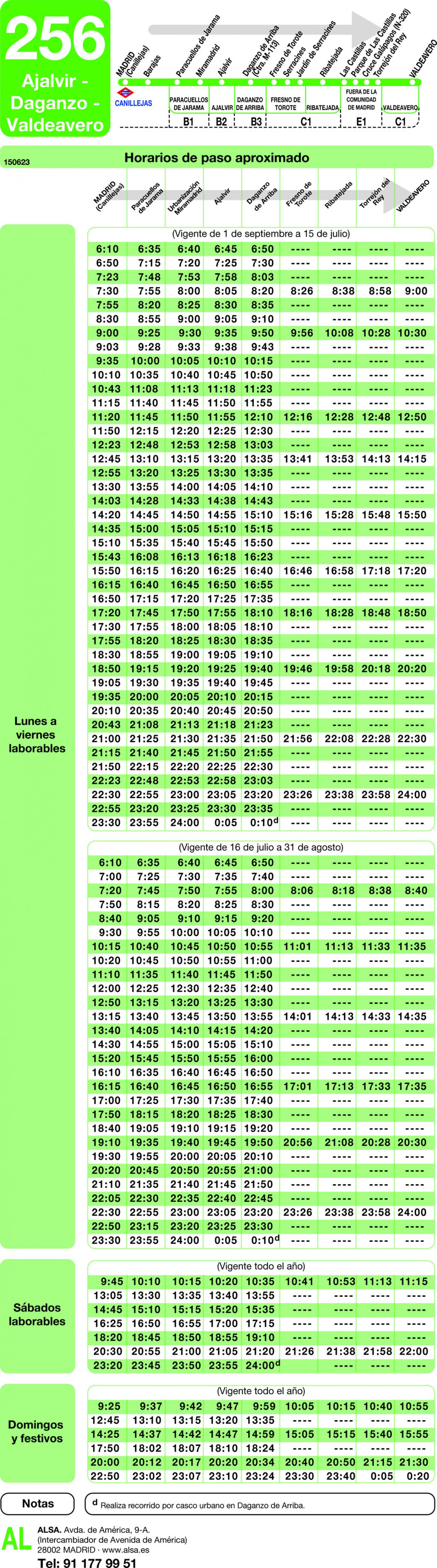 Tabla de horarios y frecuencias de paso en sentido ida Línea 256: Madrid (Barajas) - Daganzo - Valdeavero