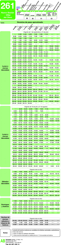 Tabla de horarios y frecuencias de paso en sentido ida Línea 261: Madrid (Avenida América) - Nuevo Baztán - Villar del Olmo