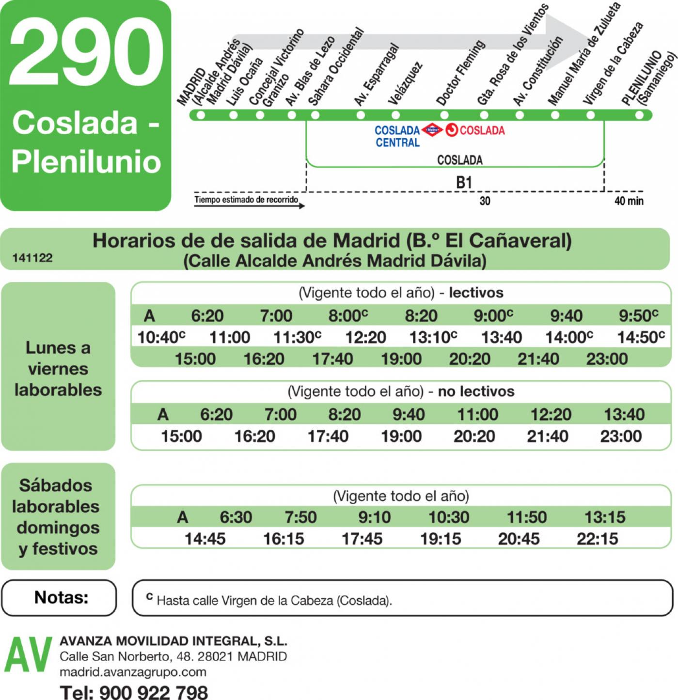 Tabla de horarios y frecuencias de paso en sentido ida Línea 290: Madrid (El Cañaveral) - Coslada (Plenilunio)