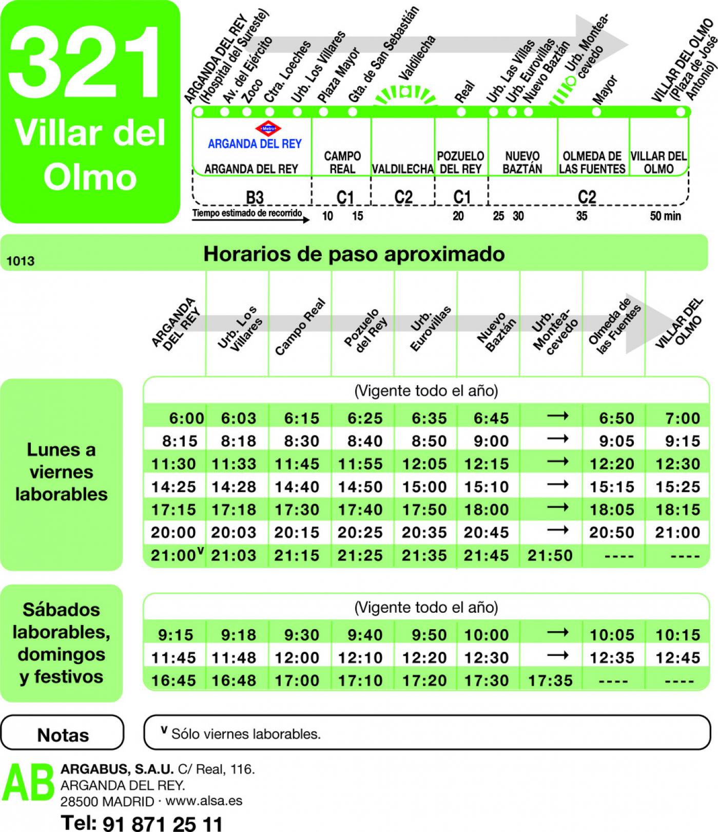 Tabla de horarios y frecuencias de paso en sentido ida Línea 321: Arganda (Hospital) - Villar del Olmo