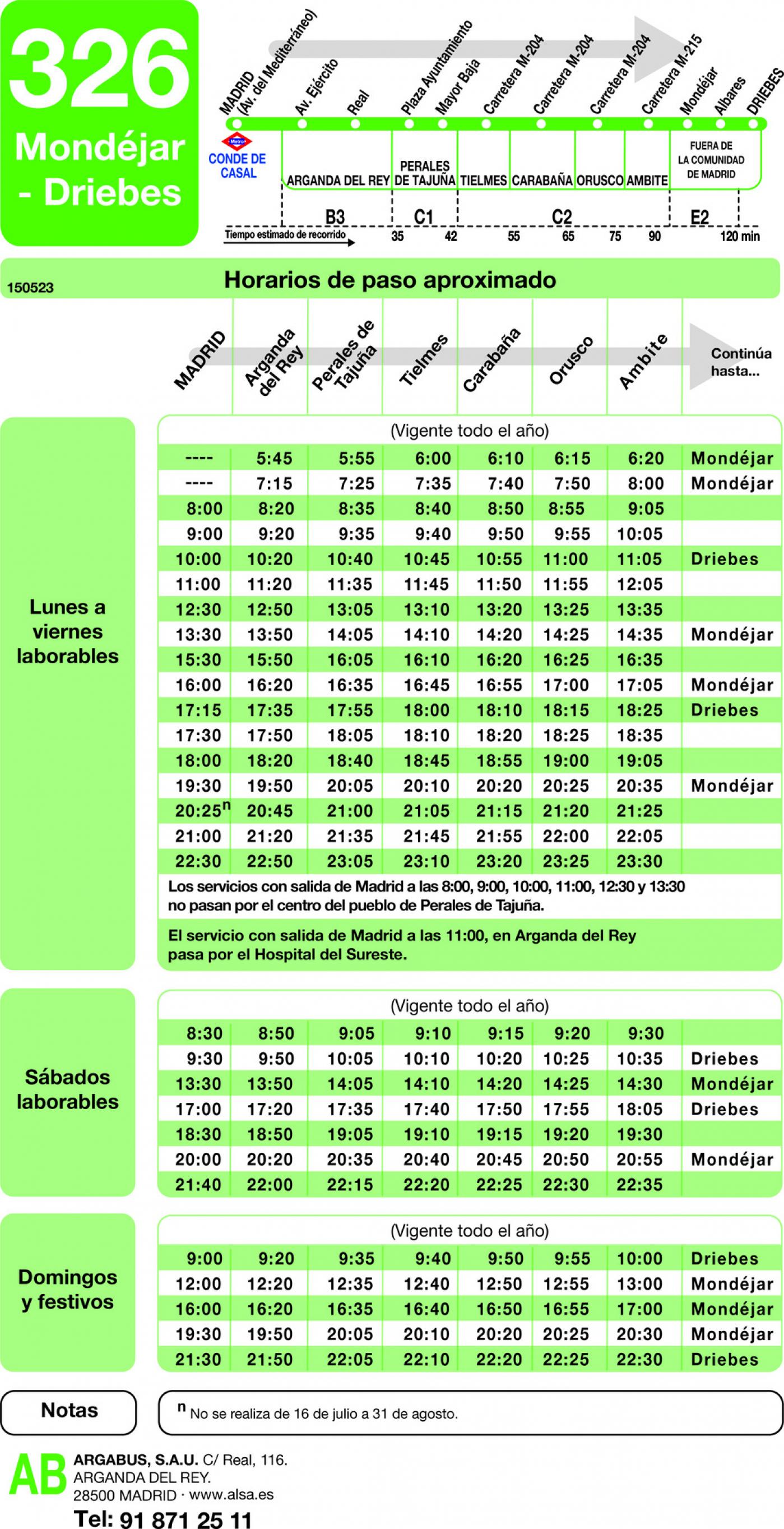 Tabla de horarios y frecuencias de paso en sentido ida Línea 326: Madrid (Conde Casal) - Mondéjar - Driebes