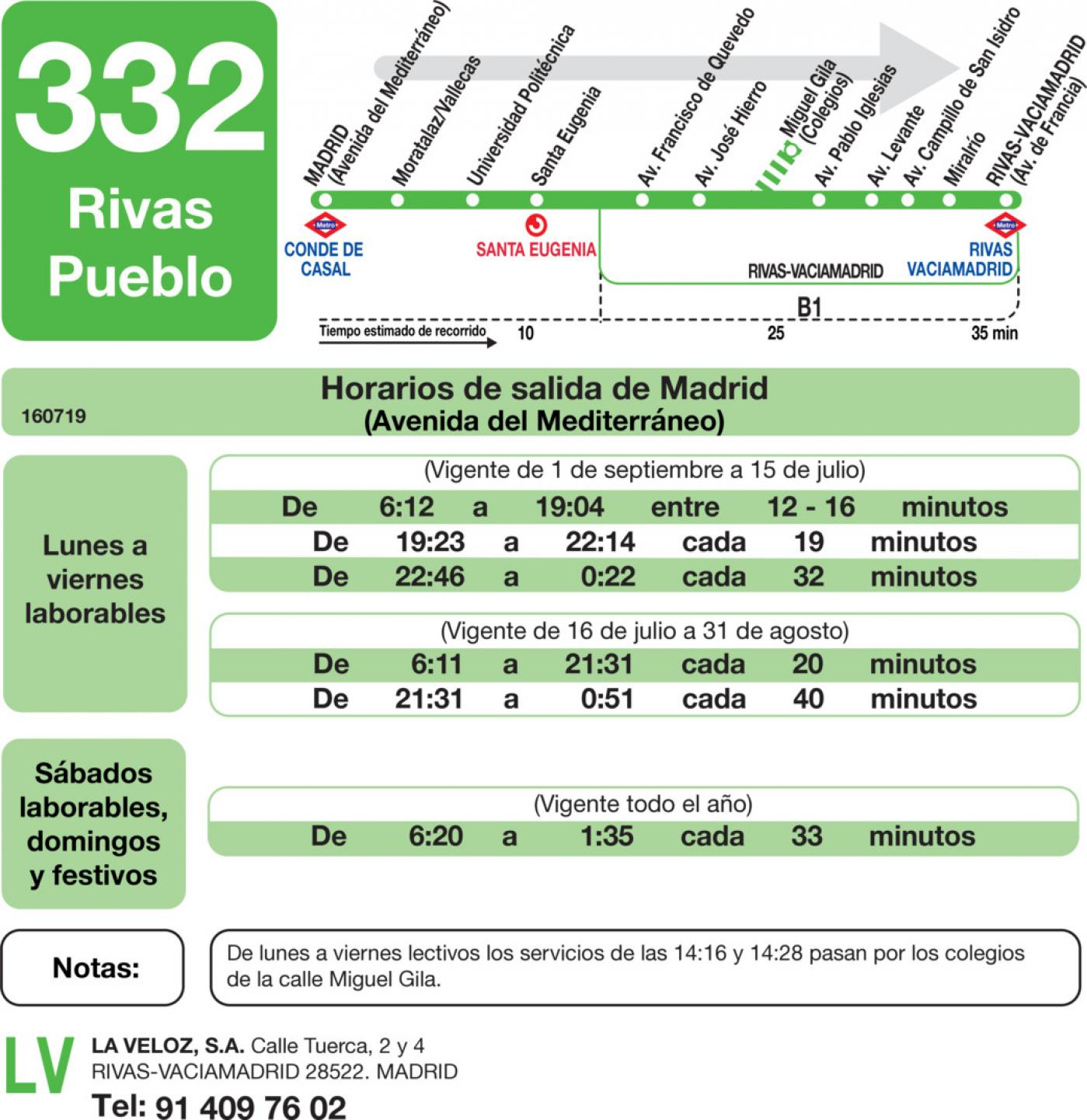 Tabla de horarios y frecuencias de paso en sentido ida Línea 332: Madrid (Conde de Casal) - Rivas (Pueblo)