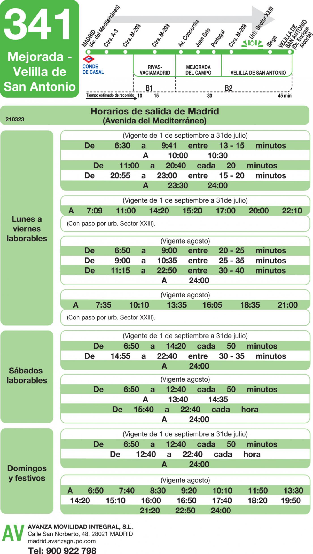 Tabla de horarios y frecuencias de paso en sentido ida Línea 341: Madrid (Conde Casal) - Mejorada - Velilla