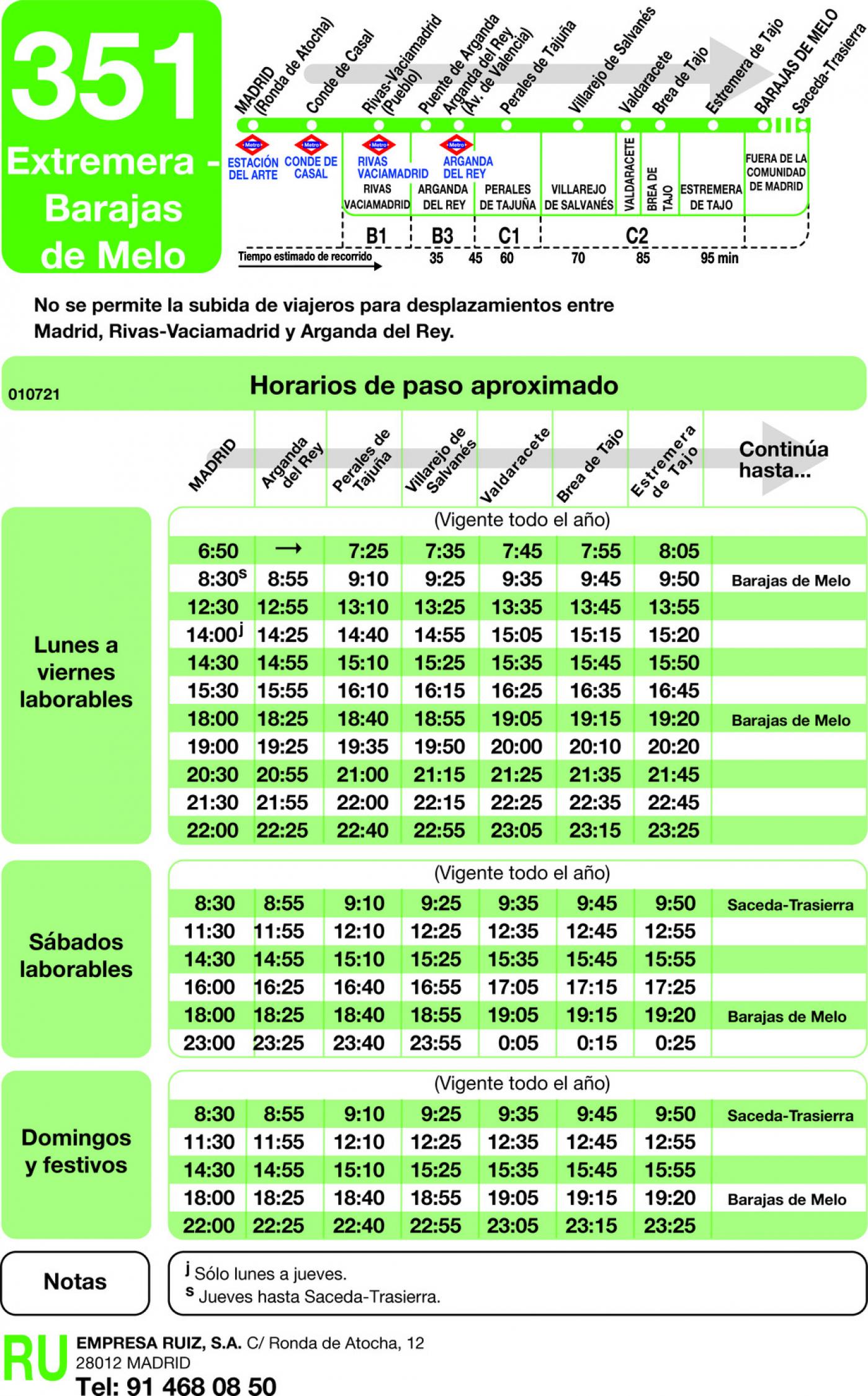 Tabla de horarios y frecuencias de paso en sentido ida Línea 351: Madrid (Ronda Atocha) - Estremera - Barajas de Melo