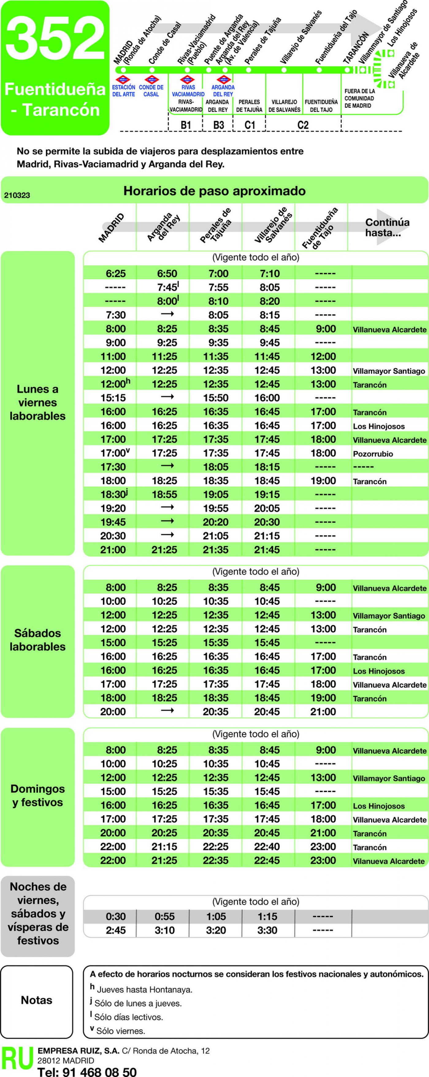 Tabla de horarios y frecuencias de paso en sentido ida Línea 352: Madrid (Ronda Atocha) - Fuentidueña - Tarancon