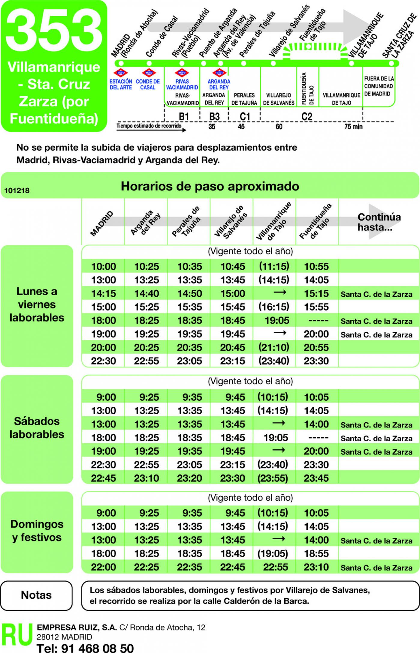 Tabla de horarios y frecuencias de paso en sentido ida Línea 353: Madrid (Ronda Atocha) - Villamanrique - Santa Cruz