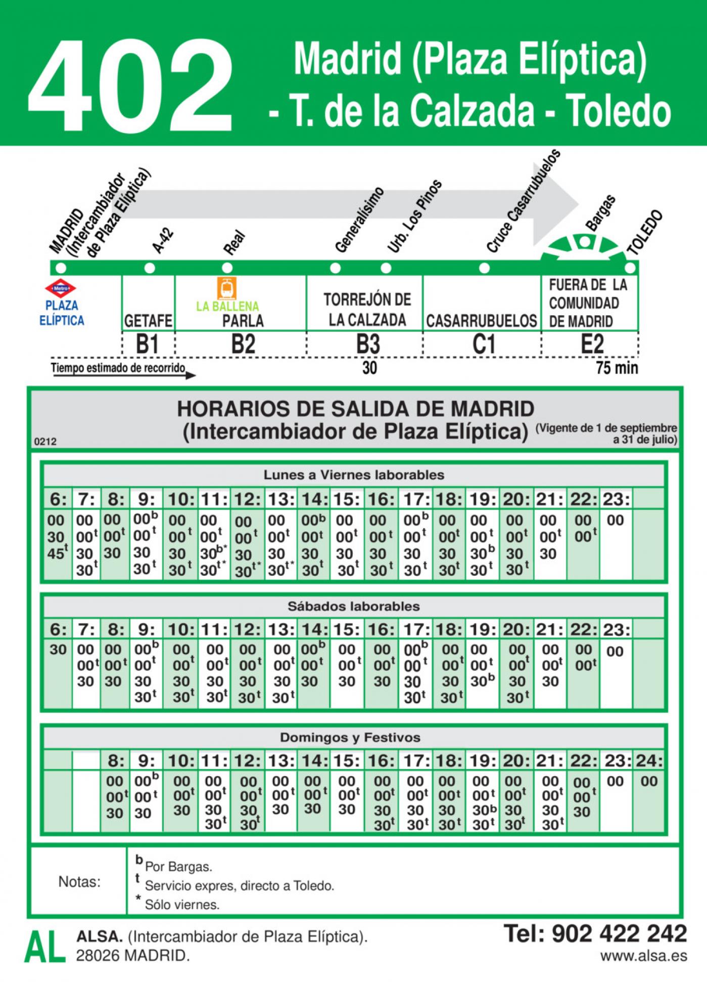 Tabla de horarios y frecuencias de paso en sentido ida Línea 402: Madrid (Plaza Elíptica) - Torrejón de la Calzada - Toledo