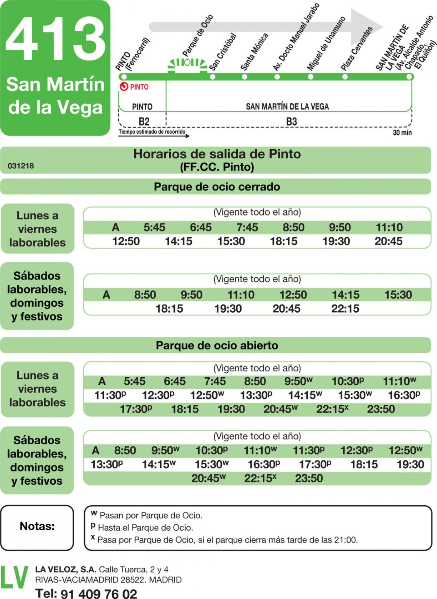 Tabla de horarios y frecuencias de paso en sentido ida Línea 413: Pinto - San Martín de la Vega - Parque Warner