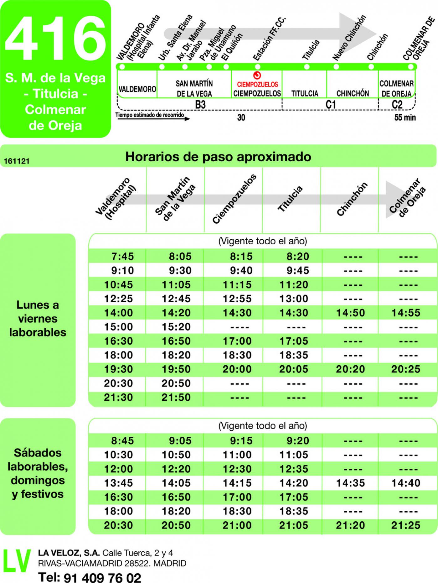 Tabla de horarios y frecuencias de paso en sentido ida Línea 416: Valdemoro (Hospital) - Titulcia - Colmenar de Oreja