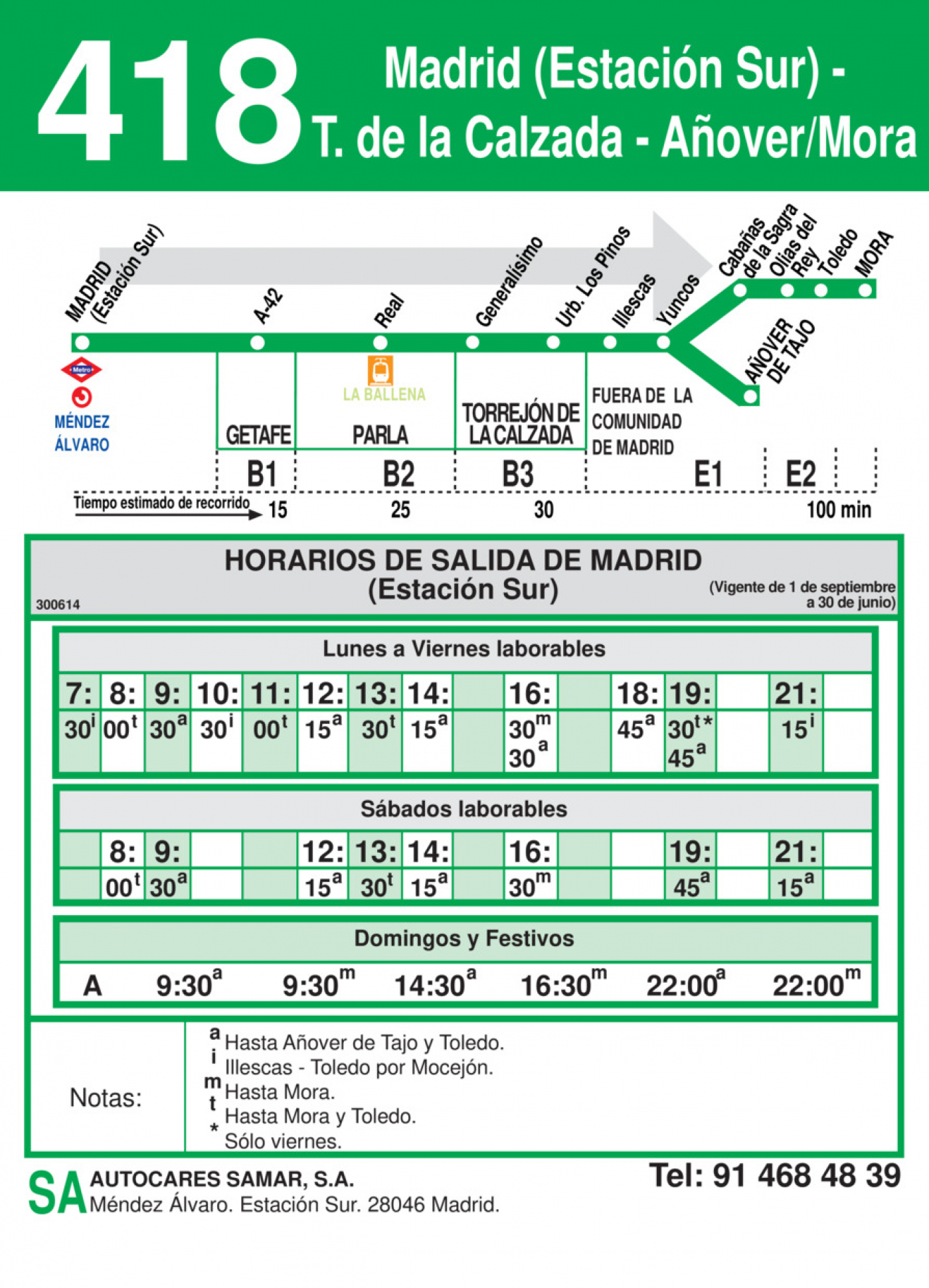 Tabla de horarios y frecuencias de paso en sentido ida Línea 418: Madrid (Estación Sur) - Torrejón de la Calzada - Añover - Mora