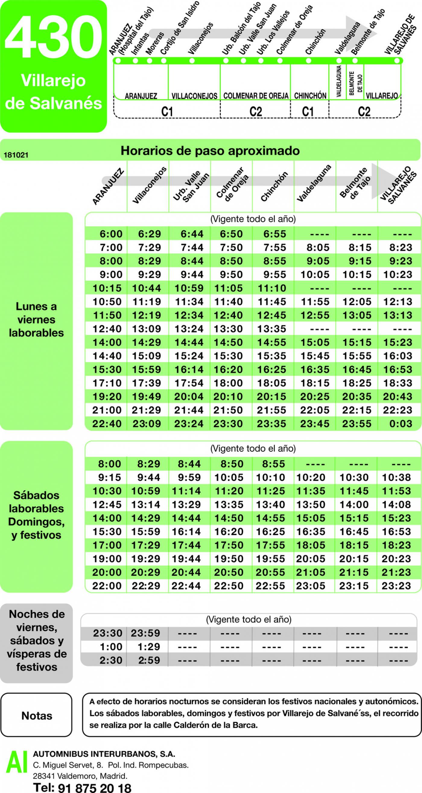 Tabla de horarios y frecuencias de paso en sentido ida Línea 430: Aranjuez - Villarejo de Salvanes