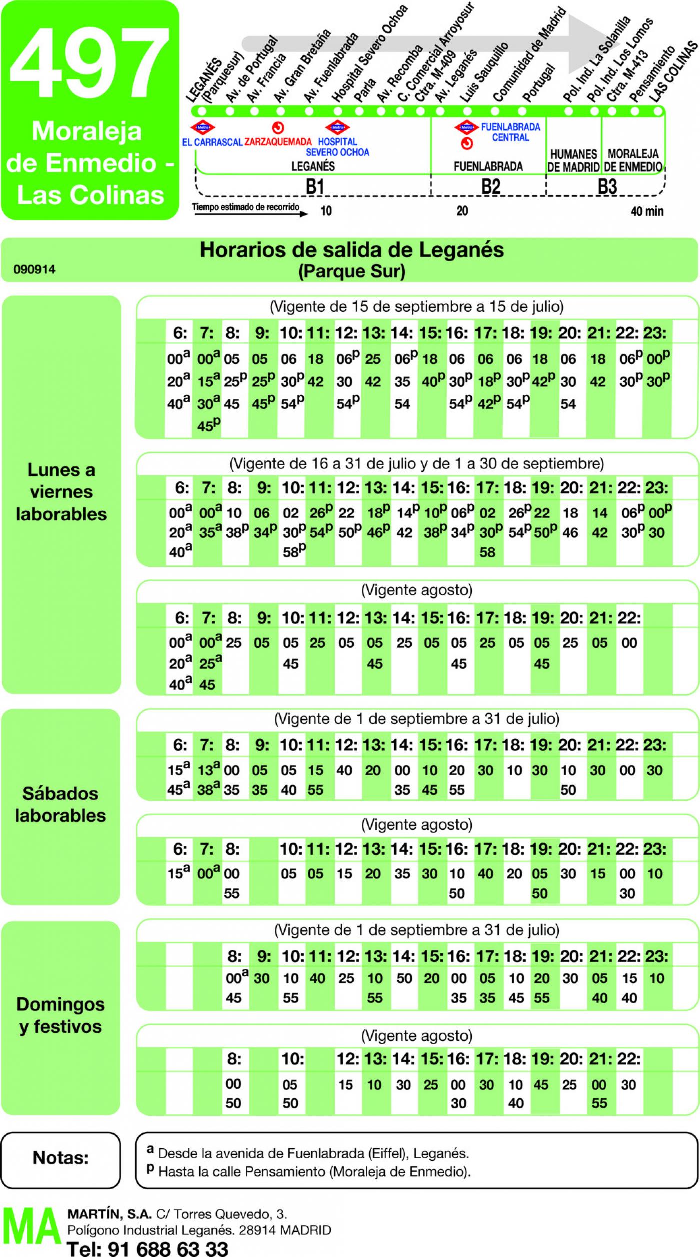 Tabla de horarios y frecuencias de paso en sentido ida Línea 497: Leganés (Parque Sur) - Moraleja de Enmedio (Las Colinas)