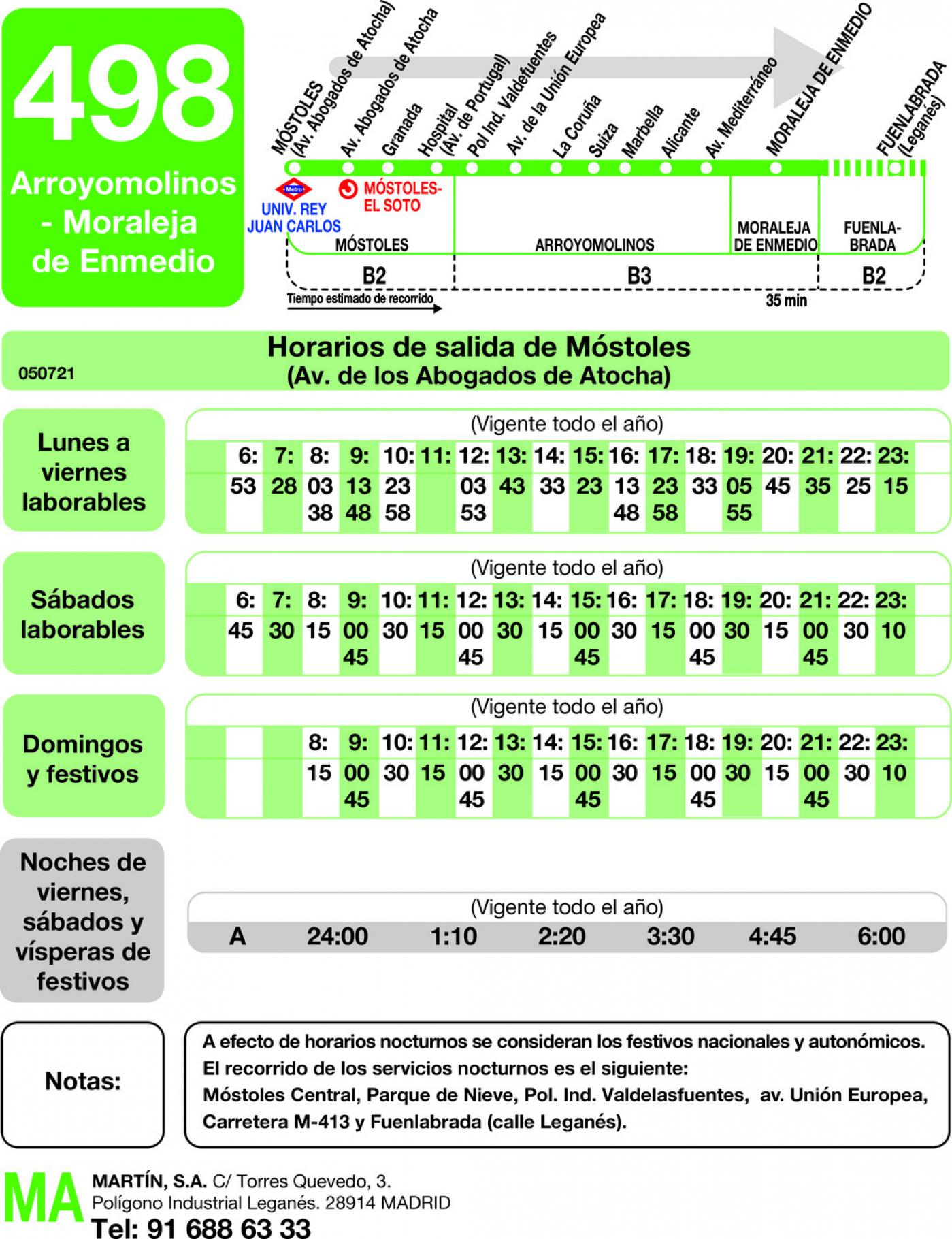 Tabla de horarios y frecuencias de paso en sentido ida Línea 498: Móstoles - Arroyomolinos - Moraleja de Enmedio - Fuenlabrada (Hospital)