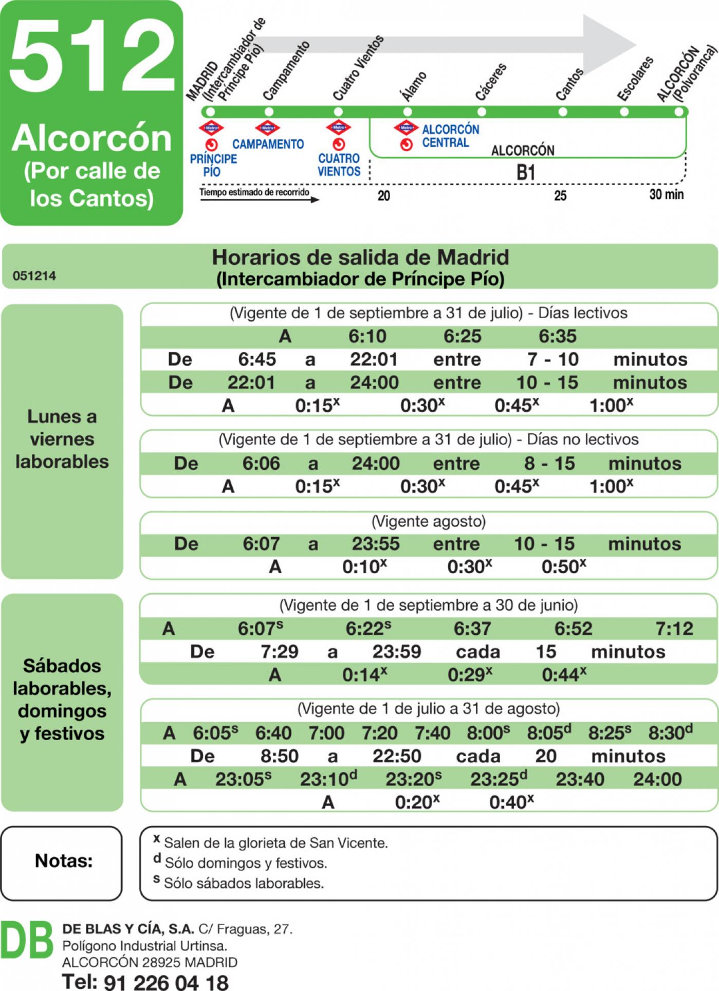 Tabla de horarios y frecuencias de paso en sentido ida Línea 512: Madrid (Príncipe Pío) - Alcorcón (Calle de los Cantos)