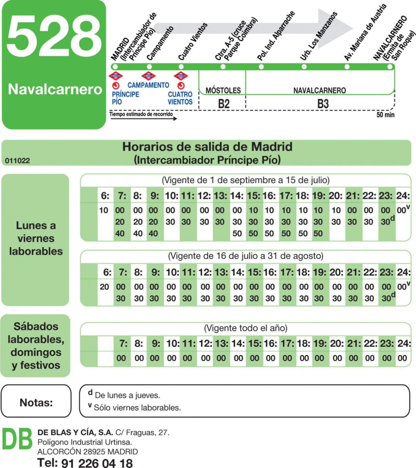 Tabla de horarios y frecuencias de paso en sentido ida Línea 528: Madrid (Príncipe Pío) - Navalcarnero