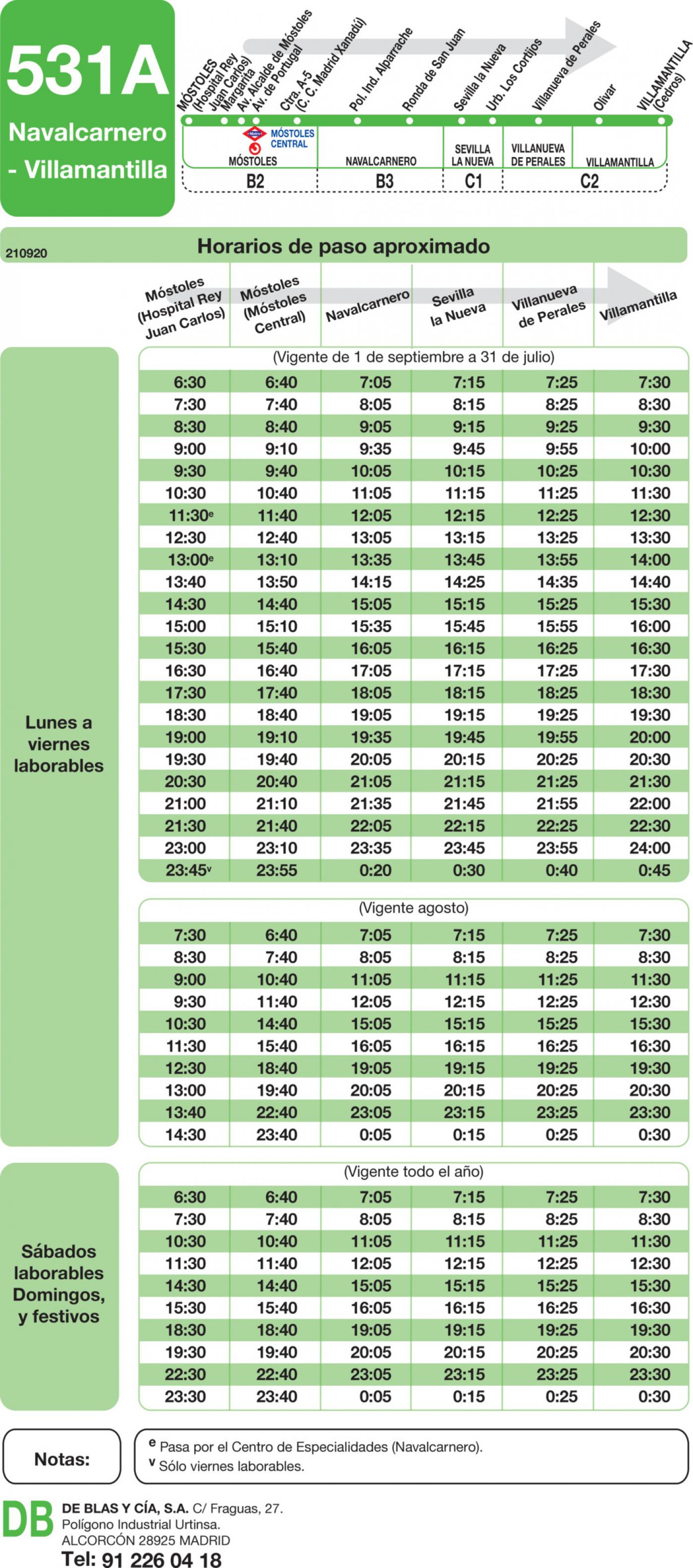 Tabla de horarios y frecuencias de paso en sentido ida Línea 531-A: Móstoles (Hospital) - Navalcarnero - Villamantilla
